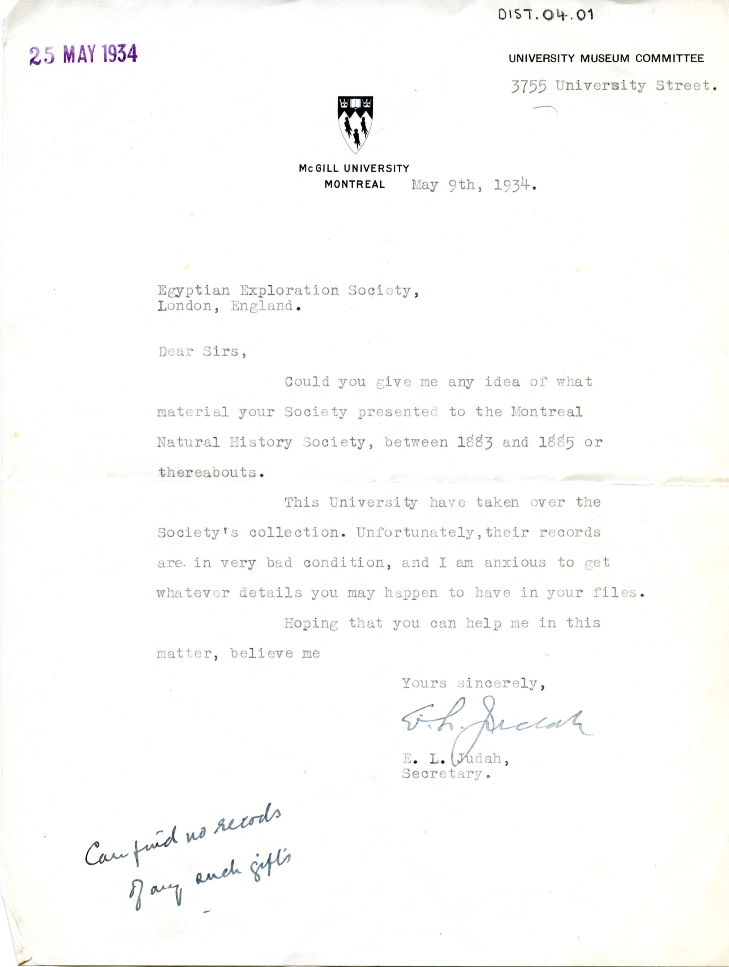 1883-1885 Tell el-Maskhuta, Tanis, Tell el-Yahudiya Correspondence DIST.04.01