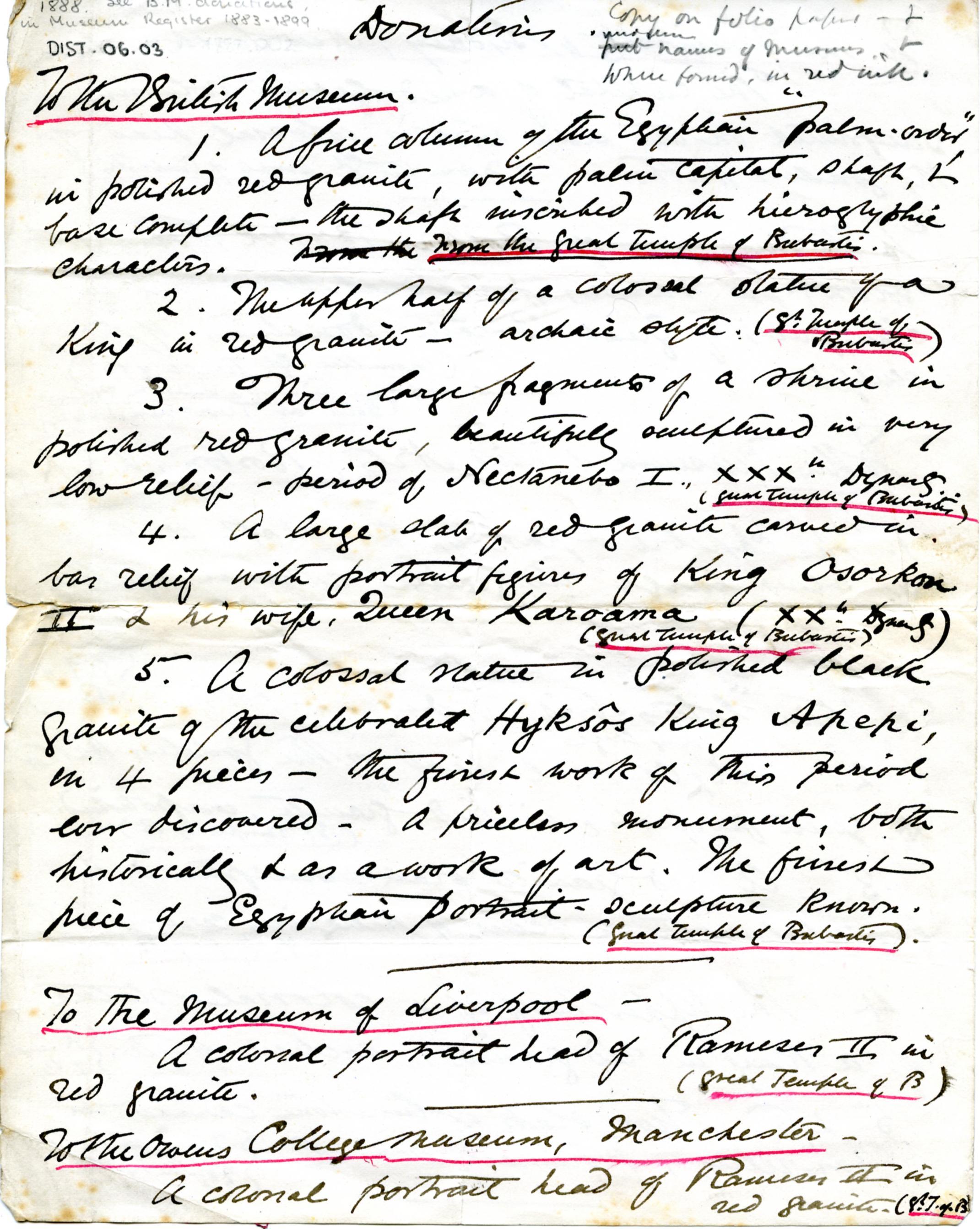 1887-1889 Tell el-Yahudiya, Teranneh, Heliopolis, Bubastis DIST.06.03a