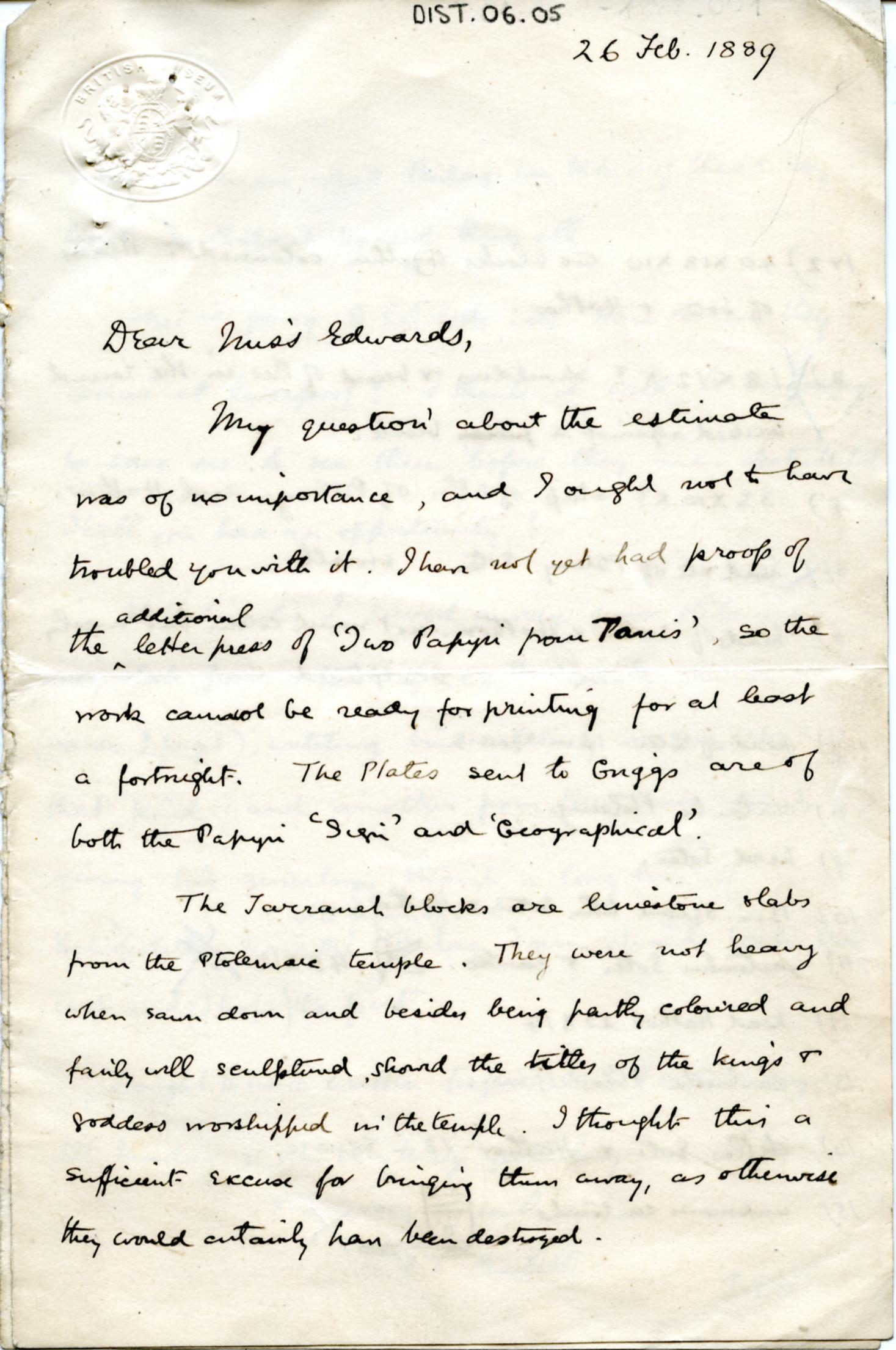 1887-1889 Tell el-Yahudiya, Teranneh, Heliopolis, Bubastis DIST.06.05a