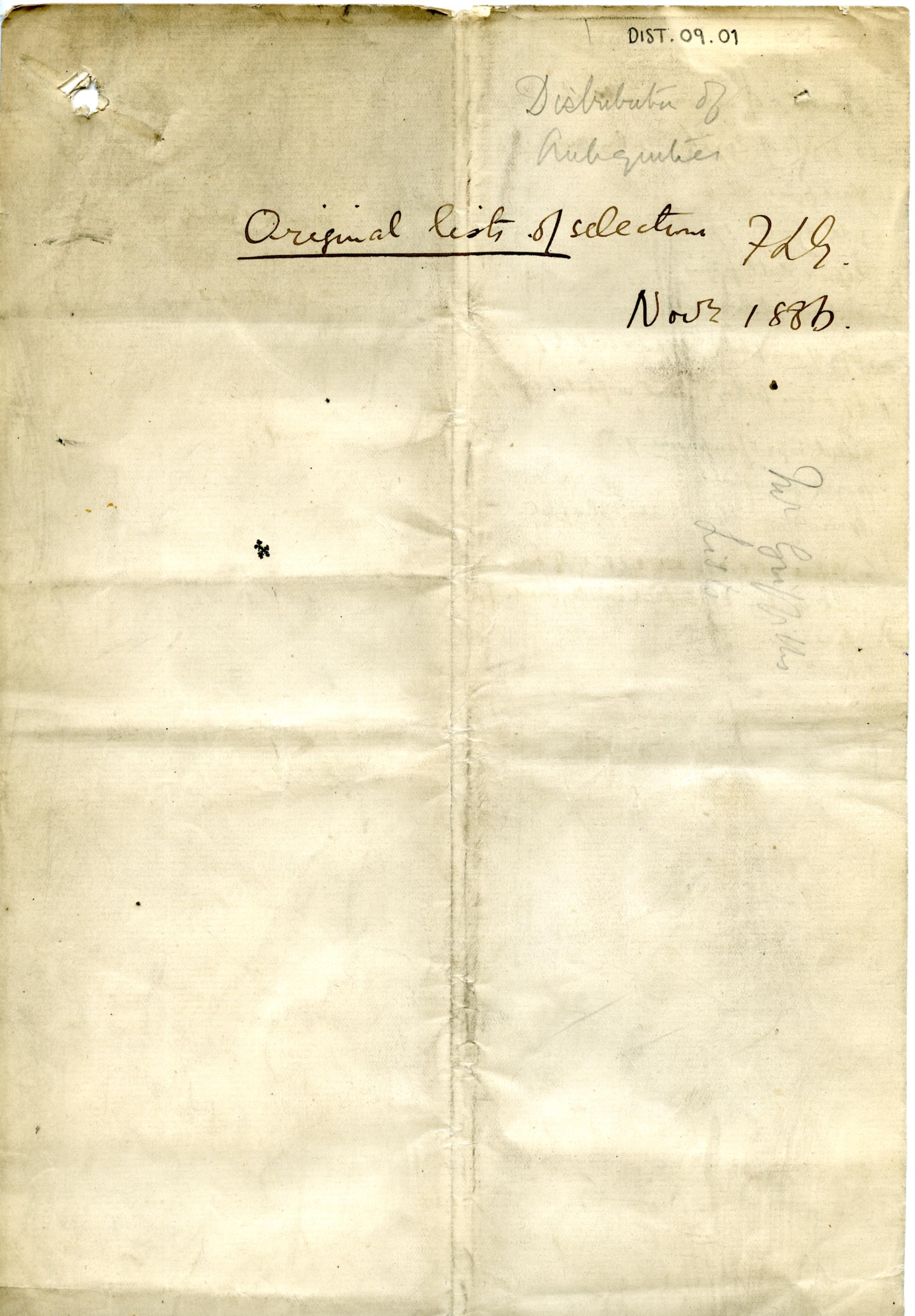 1886 Nebesheh Tell Dafana Distribution List DIST.09.01a