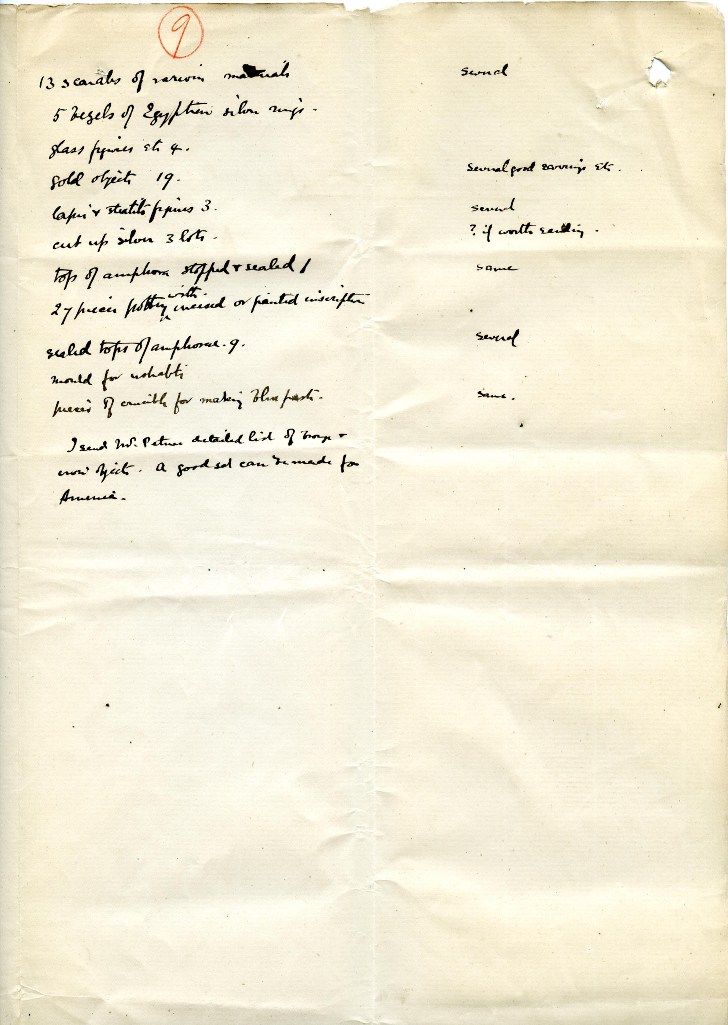 1886 Nebesheh Tell Dafana Object List DIST.09.01c