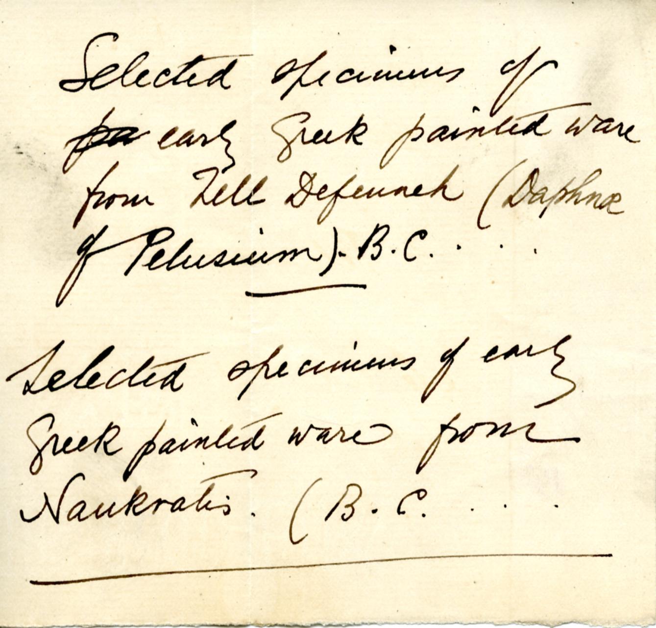 1884-85 Naukratis, Tanis, Bubastis, Tell el-Yahudiya, Nebesheh, Tell Dafana, Tell Sueilin, Tell el-Maskuta DIST.10.01u