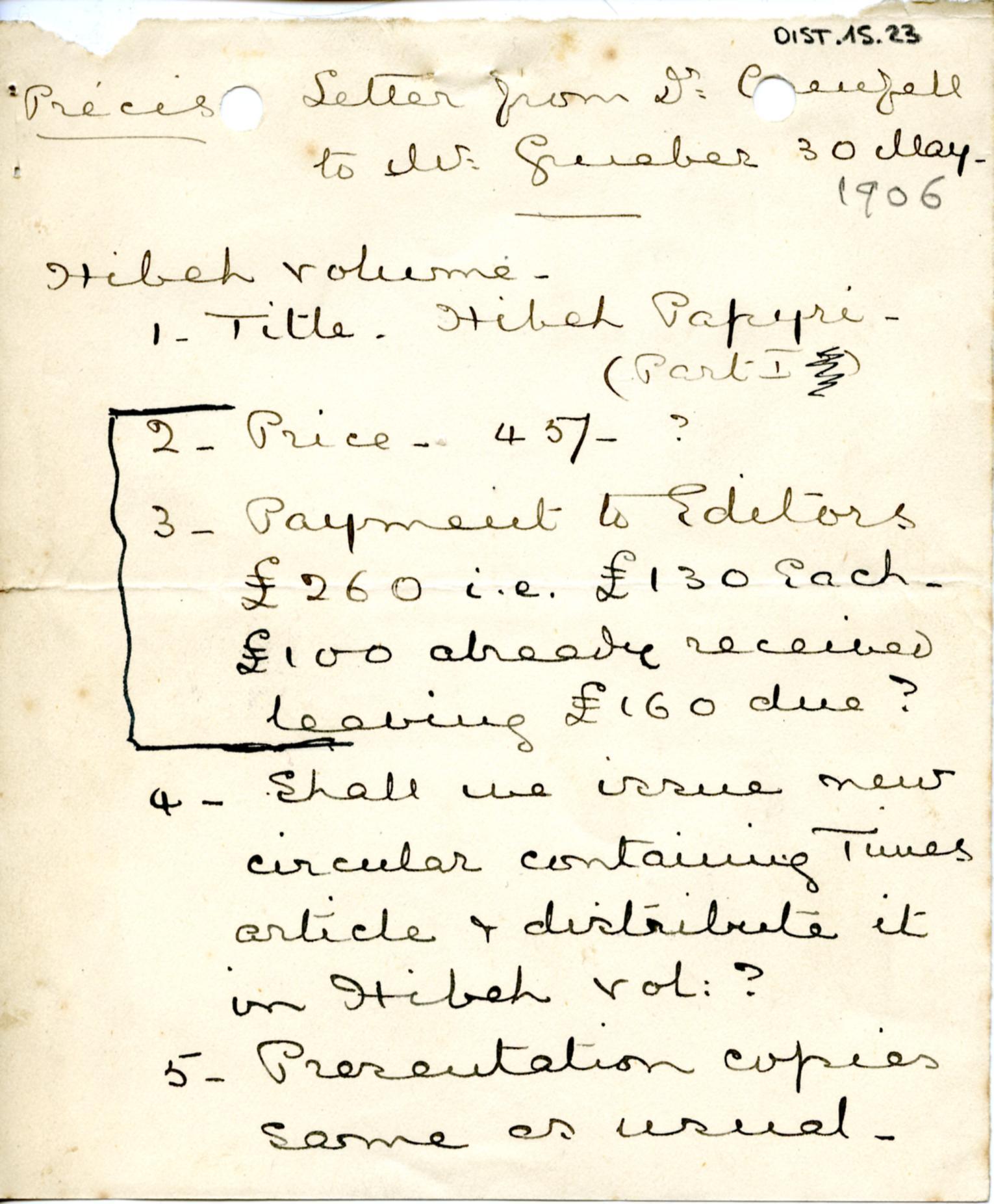 1884-1915 Oxyrhynchus, Faiyum, el-Hibeh, Atfieh, el-Sheikh Ibada DIST.15.23a