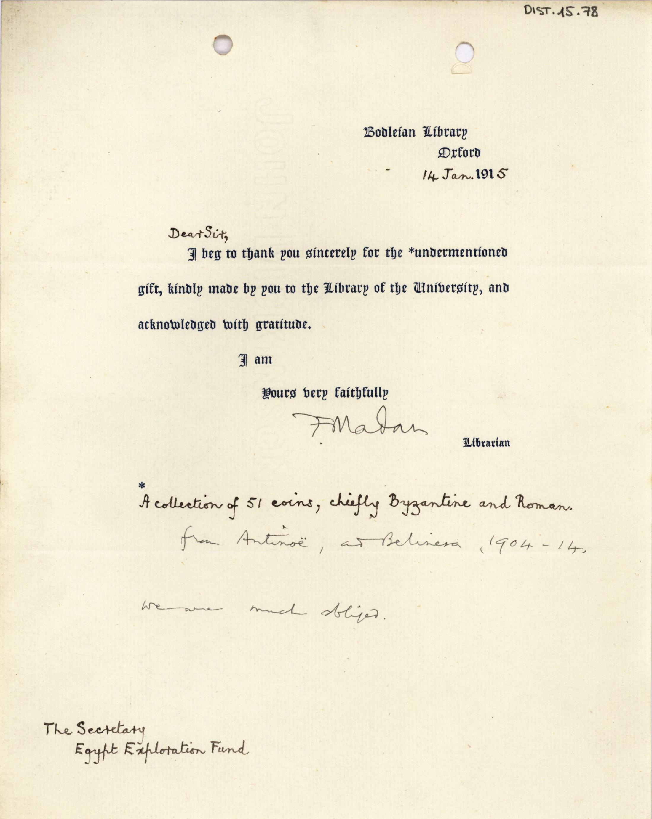 1884-1915 Oxyrhynchus, Faiyum, el-Hibeh, Atfieh, el-Sheikh Ibada DIST.15.78