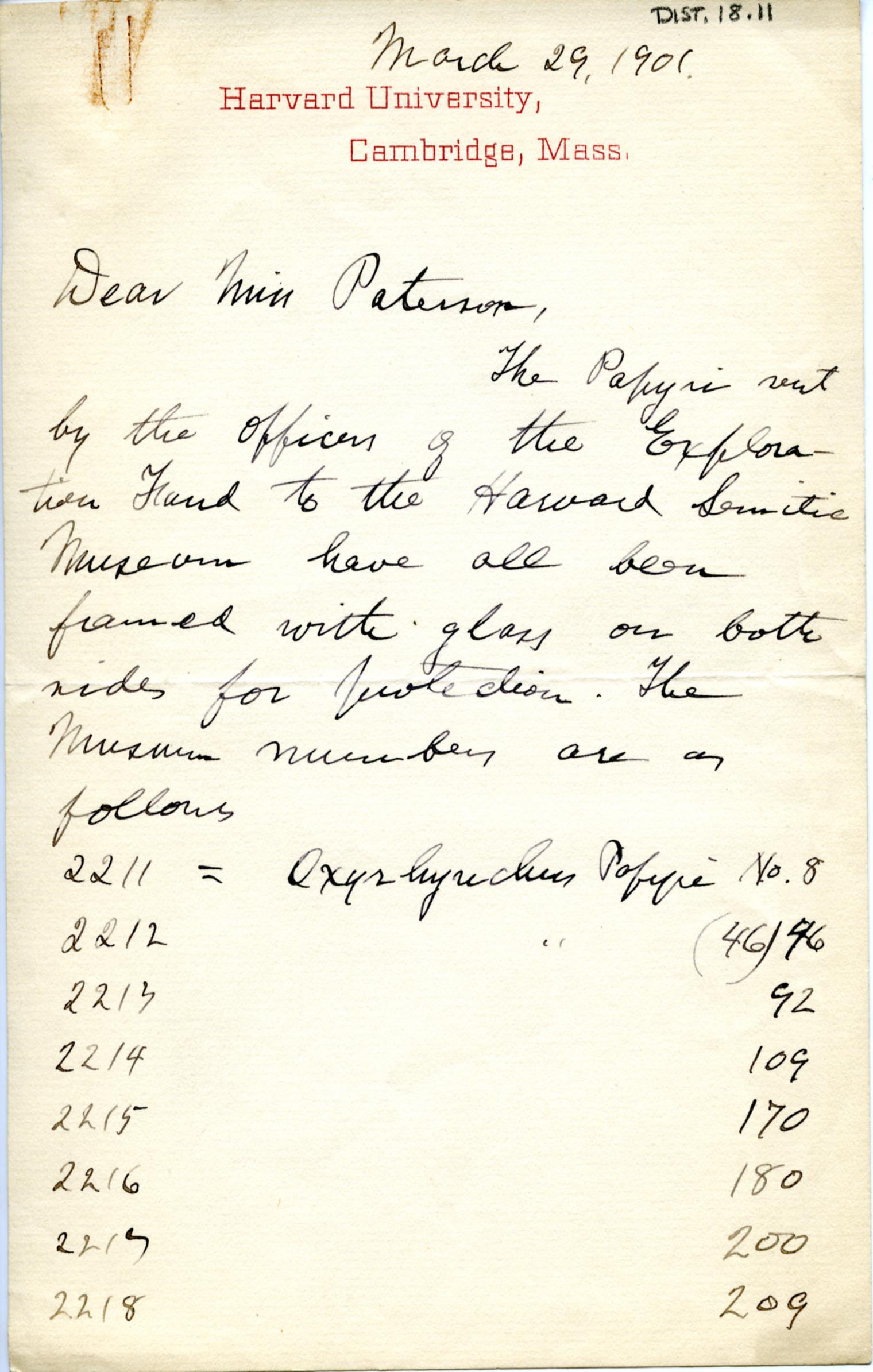 1895-1903 Oxyrhynchus, Faiyum DIST.18.11a