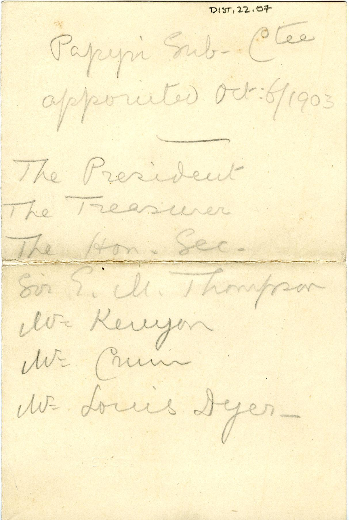 1902-07 Oxyrhynchus, Faiyum, el-Hibeh DIST.22.07