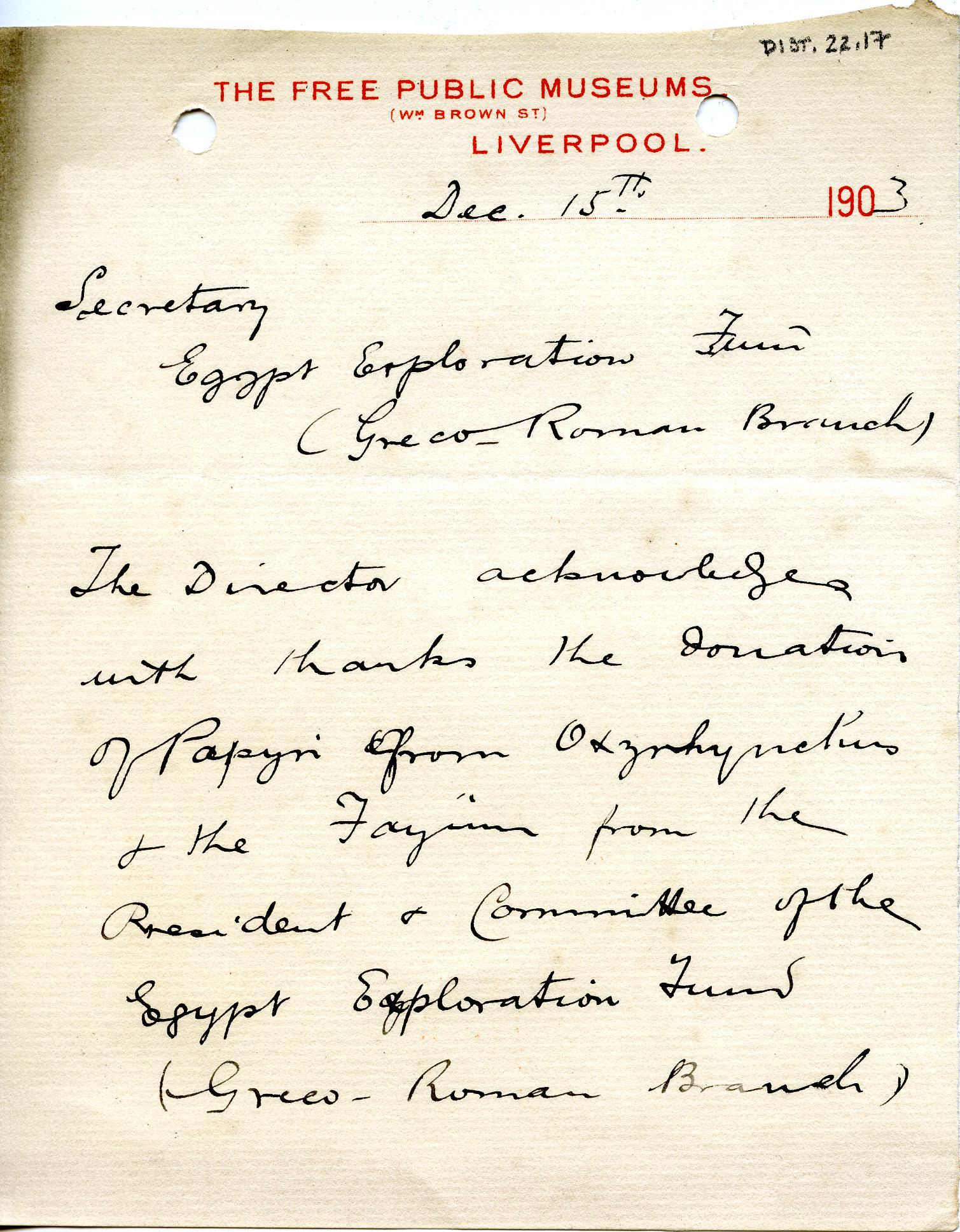 1902-07 Oxyrhynchus, Faiyum, el-Hibeh DIST.22.17