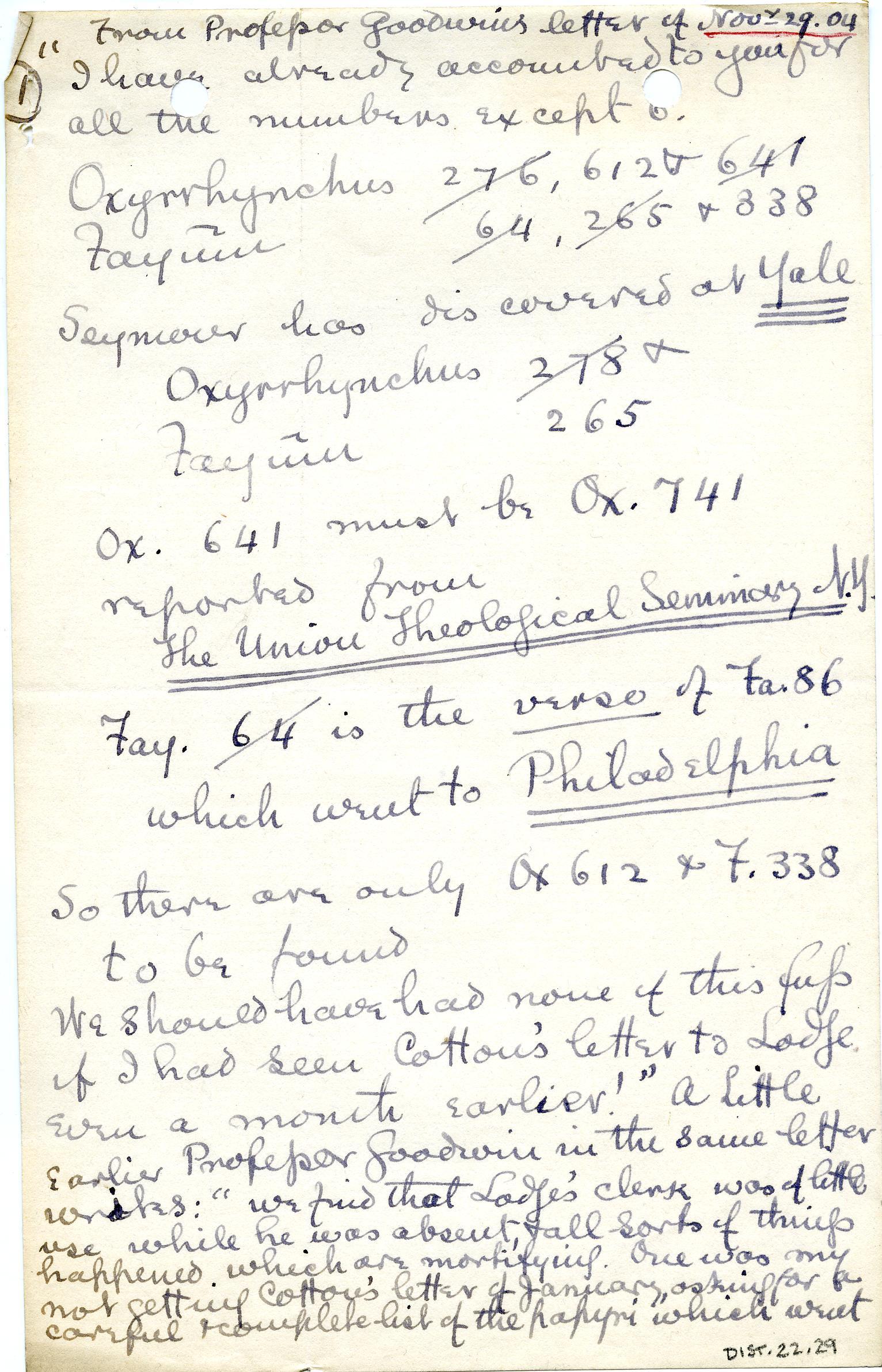 1902-07 Oxyrhynchus, Faiyum, el-Hibeh DIST.22.29a