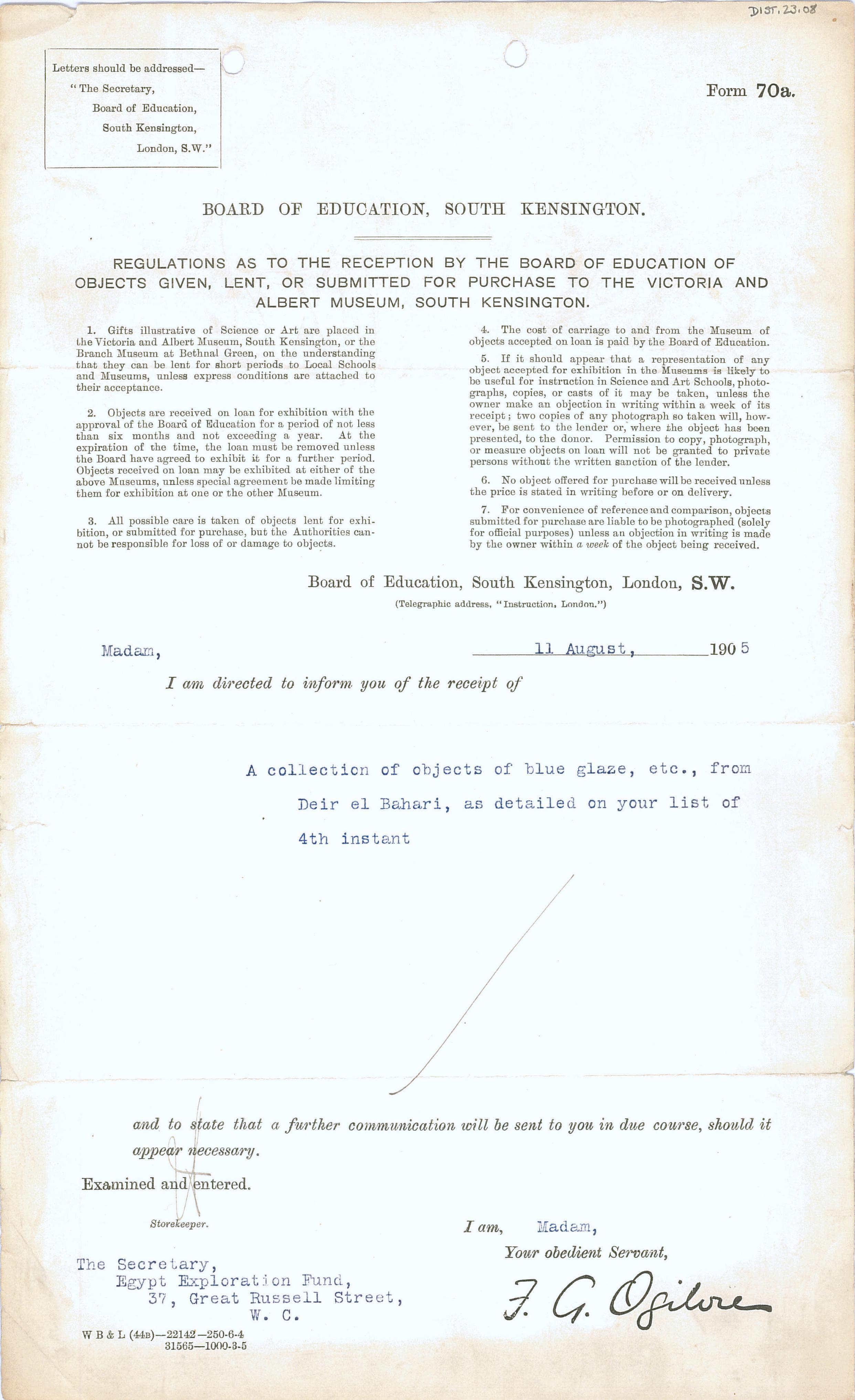 1904-05 Sinai, Deir el-Bahri, Oxyrhynchus, Naukratis DIST.23.08