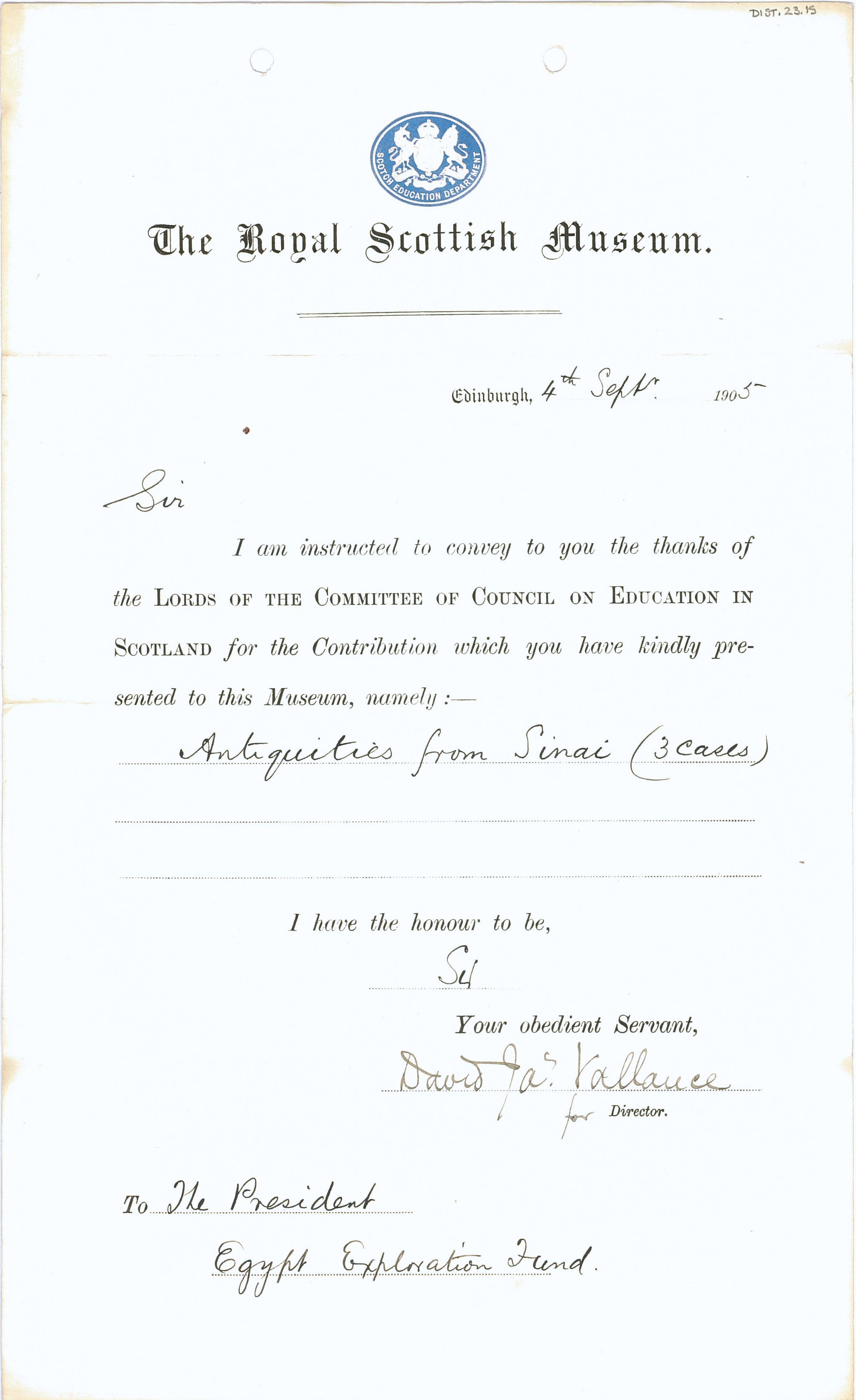1904-05 Sinai, Deir el-Bahri, Oxyrhynchus, Naukratis DIST.23.15