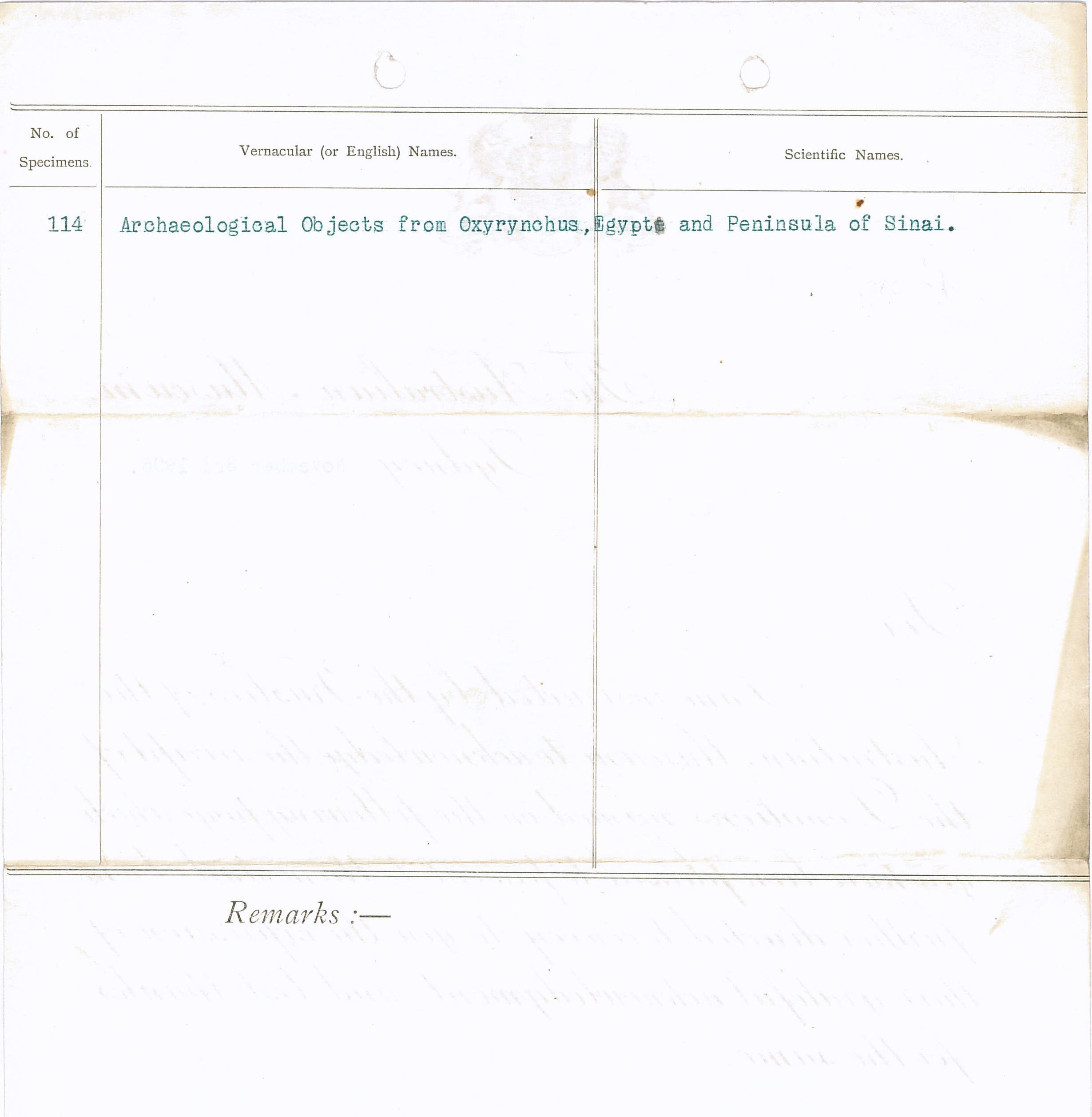 1904-05 Sinai, Deir el-Bahri, Oxyrhynchus, Naukratis DIST.23.25b