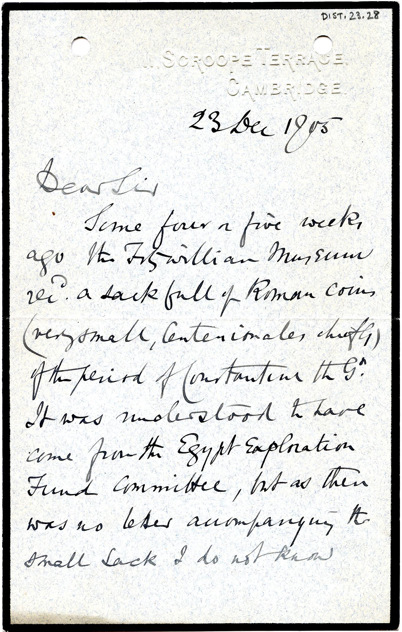 1904-05 Sinai, Deir el-Bahri, Oxyrhynchus, Naukratis DIST.23.28