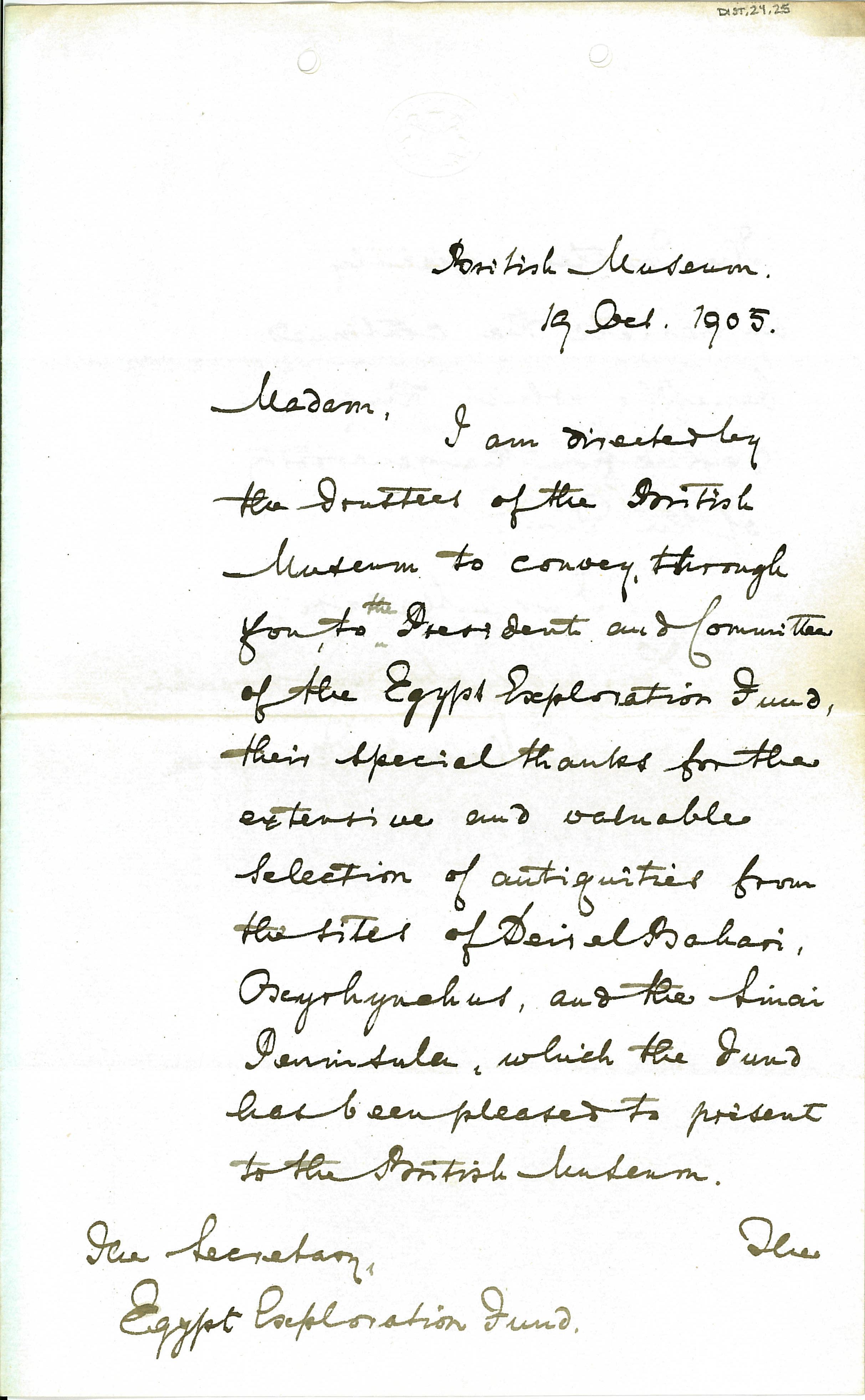 1904-05 Deir el-Bahri, Sinai, Oxyrhynchus DIST.24.25a