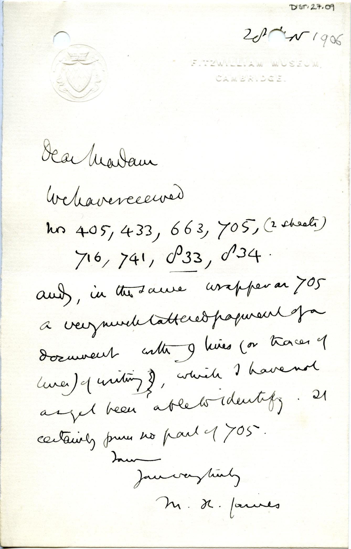 1905-06 Oxyrhynchus, el-Hibeh, Faiyum DIST.27.09