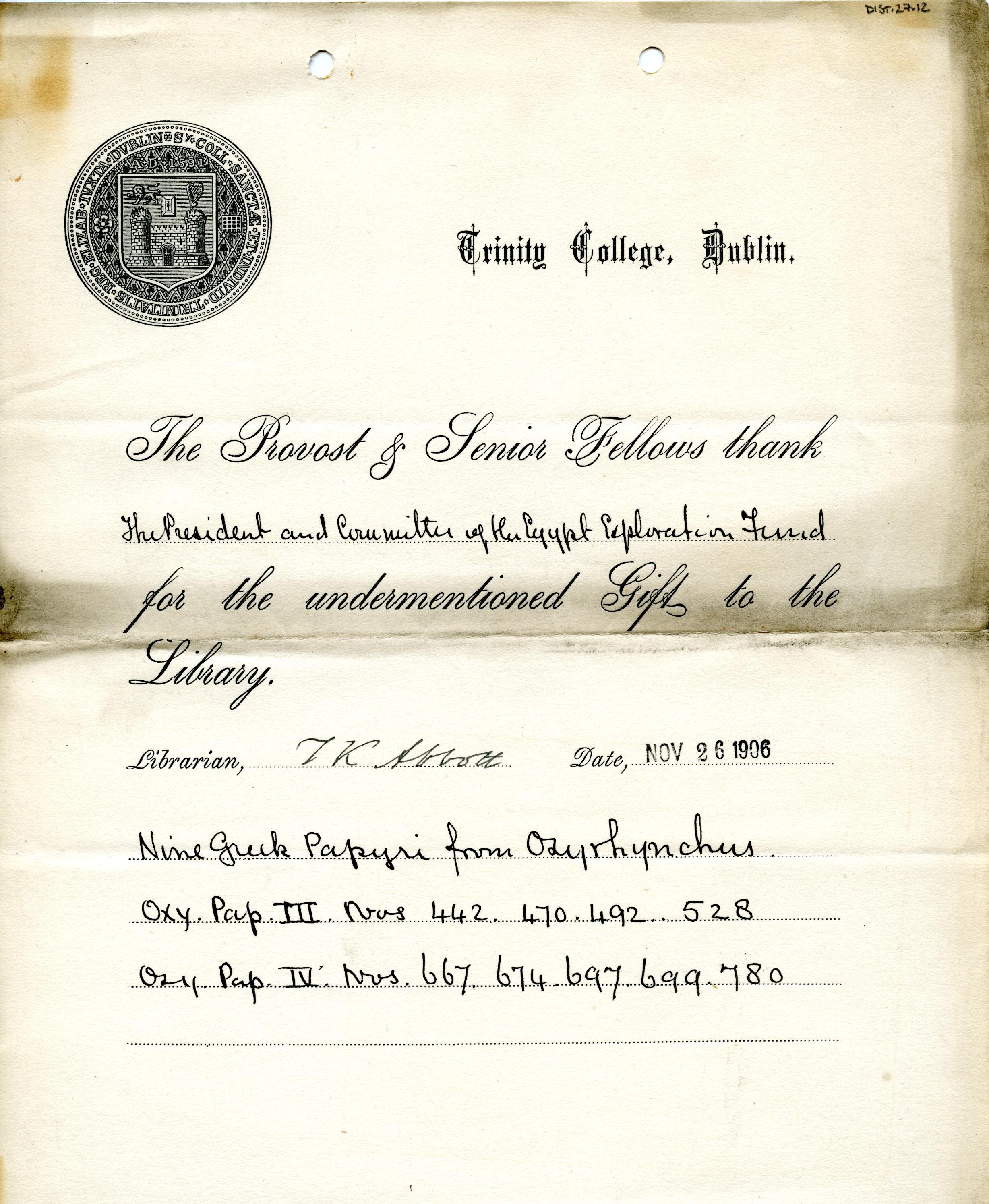 1905-06 Oxyrhynchus, el-Hibeh, Faiyum DIST.27.12