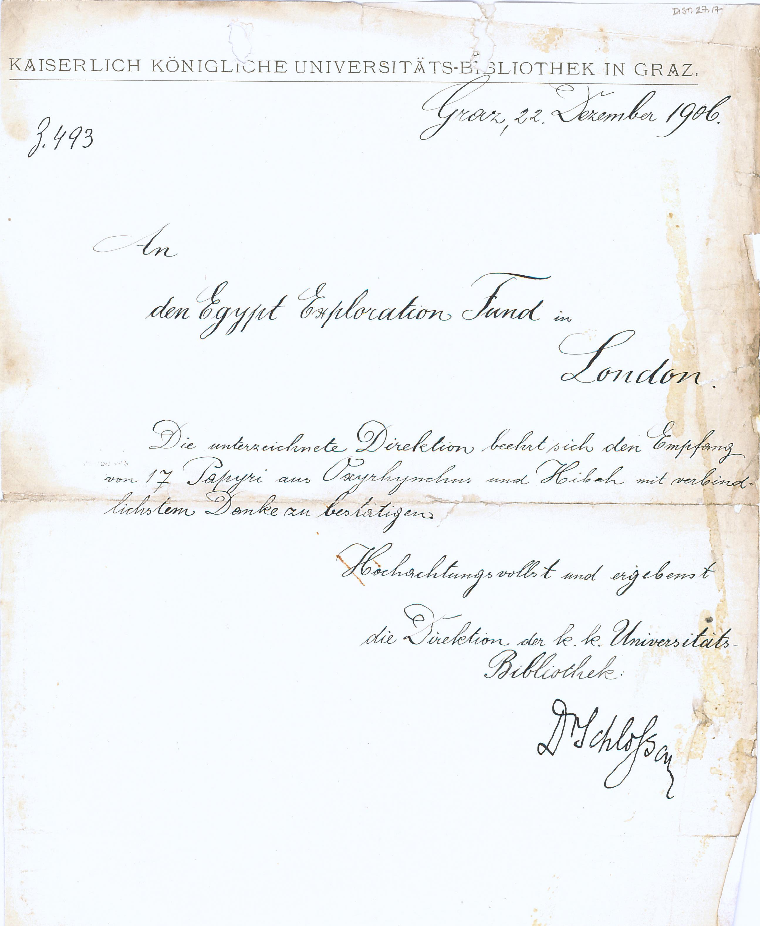 1905-06 Oxyrhynchus, el-Hibeh, Faiyum DIST.27.17