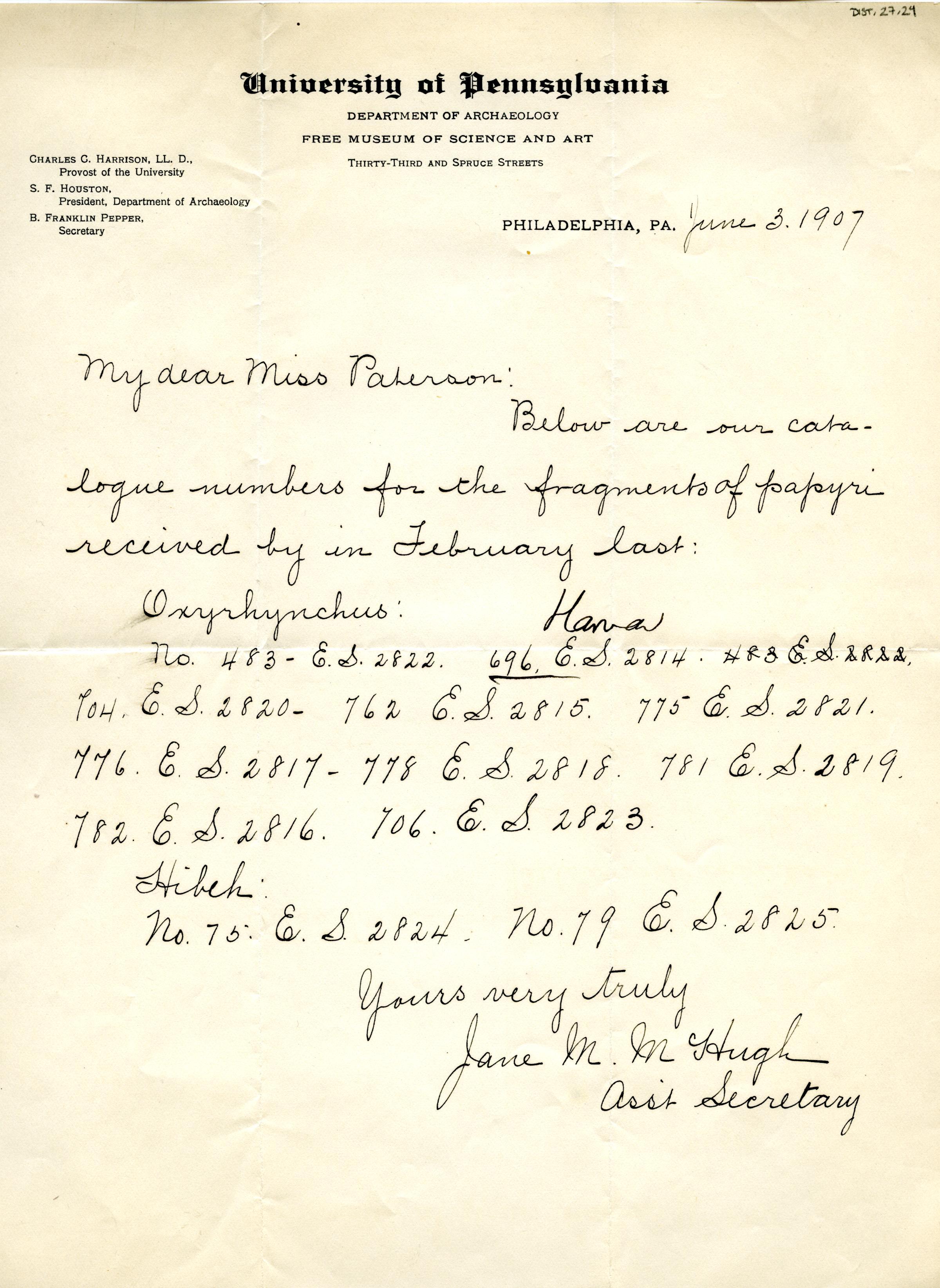 1905-06 Oxyrhynchus, el-Hibeh, Faiyum DIST.27.24