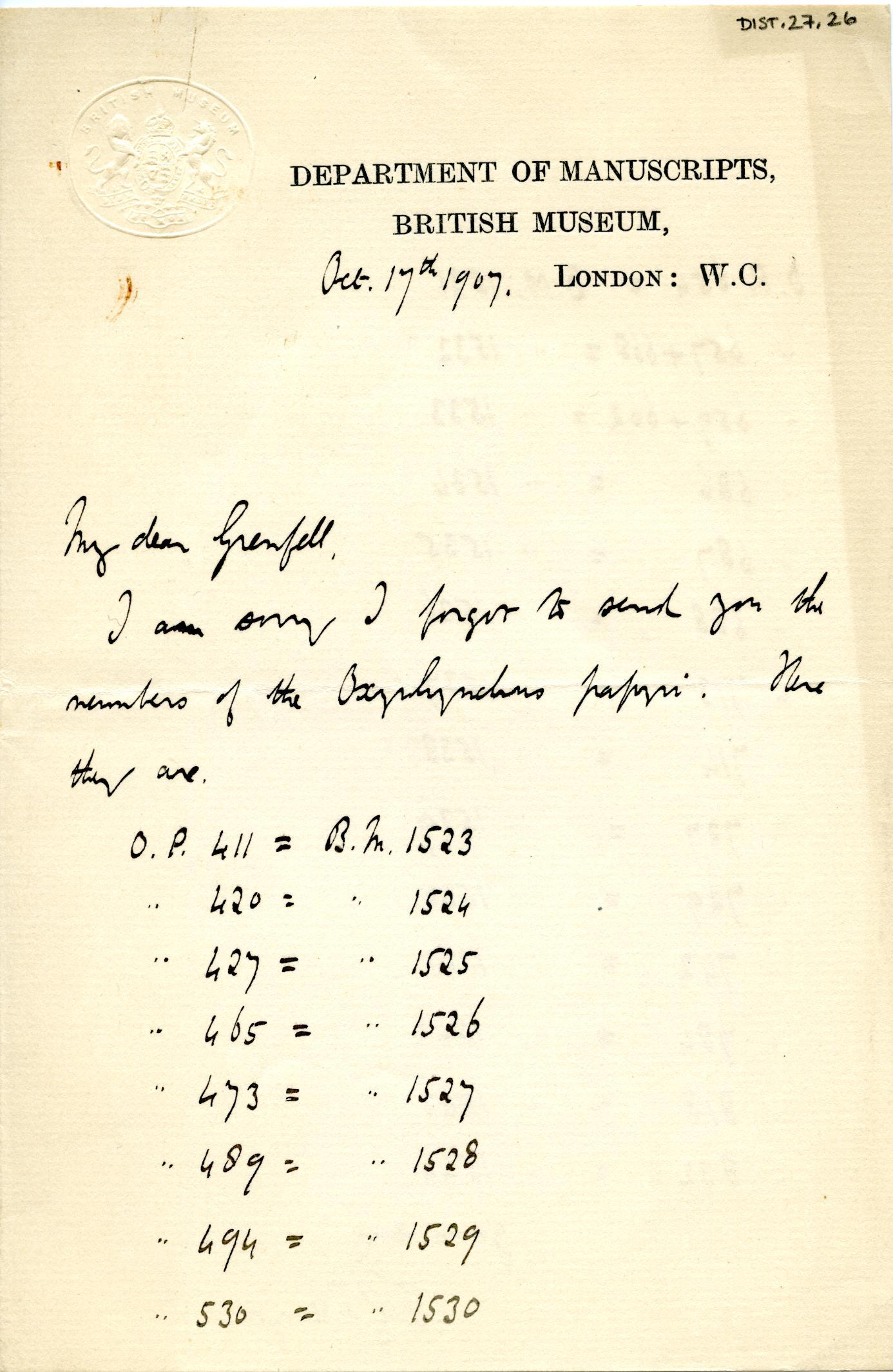 1905-06 Oxyrhynchus, el-Hibeh, Faiyum DIST.27.26a