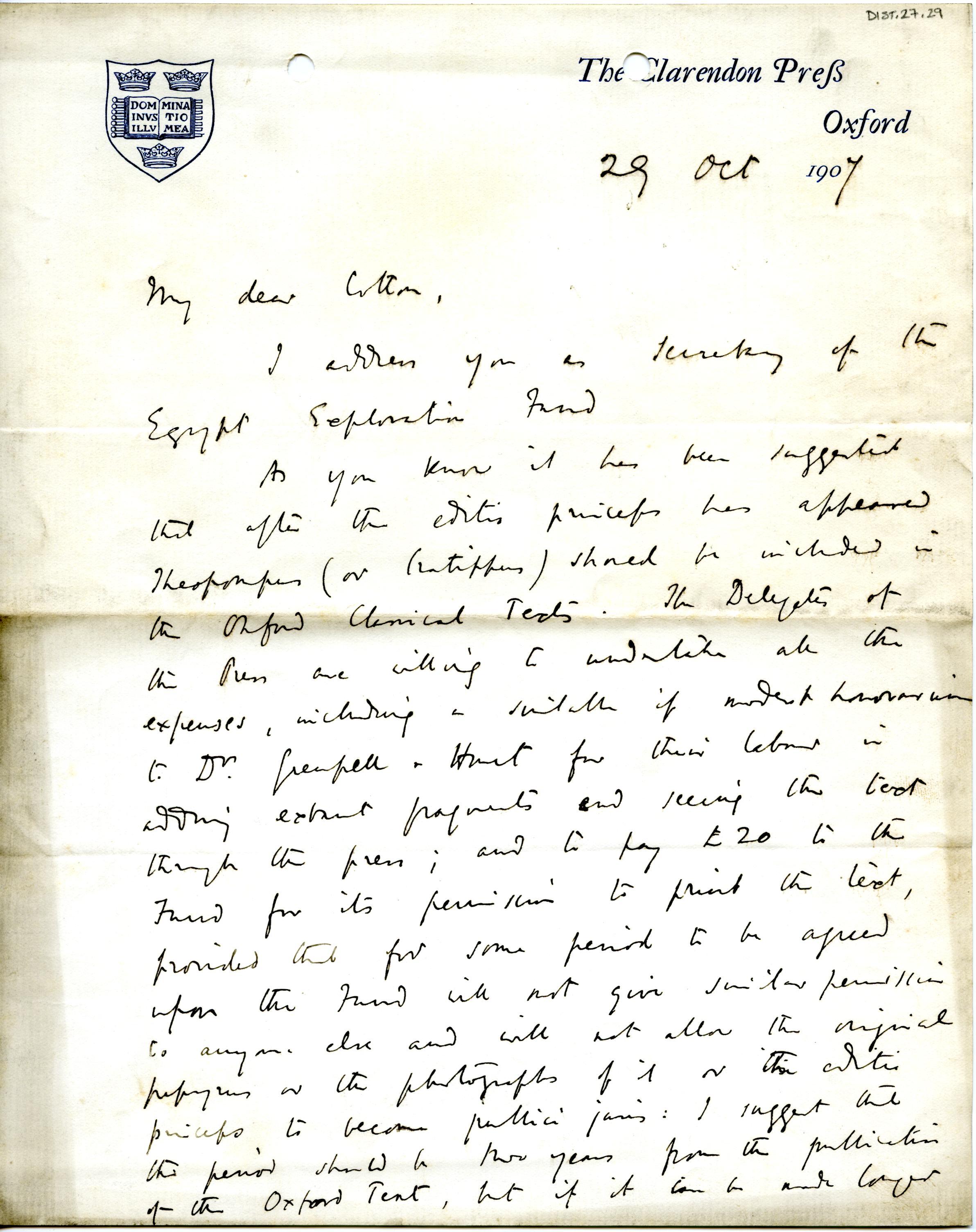 1905-06 Oxyrhynchus, el-Hibeh, Faiyum DIST.27.29a