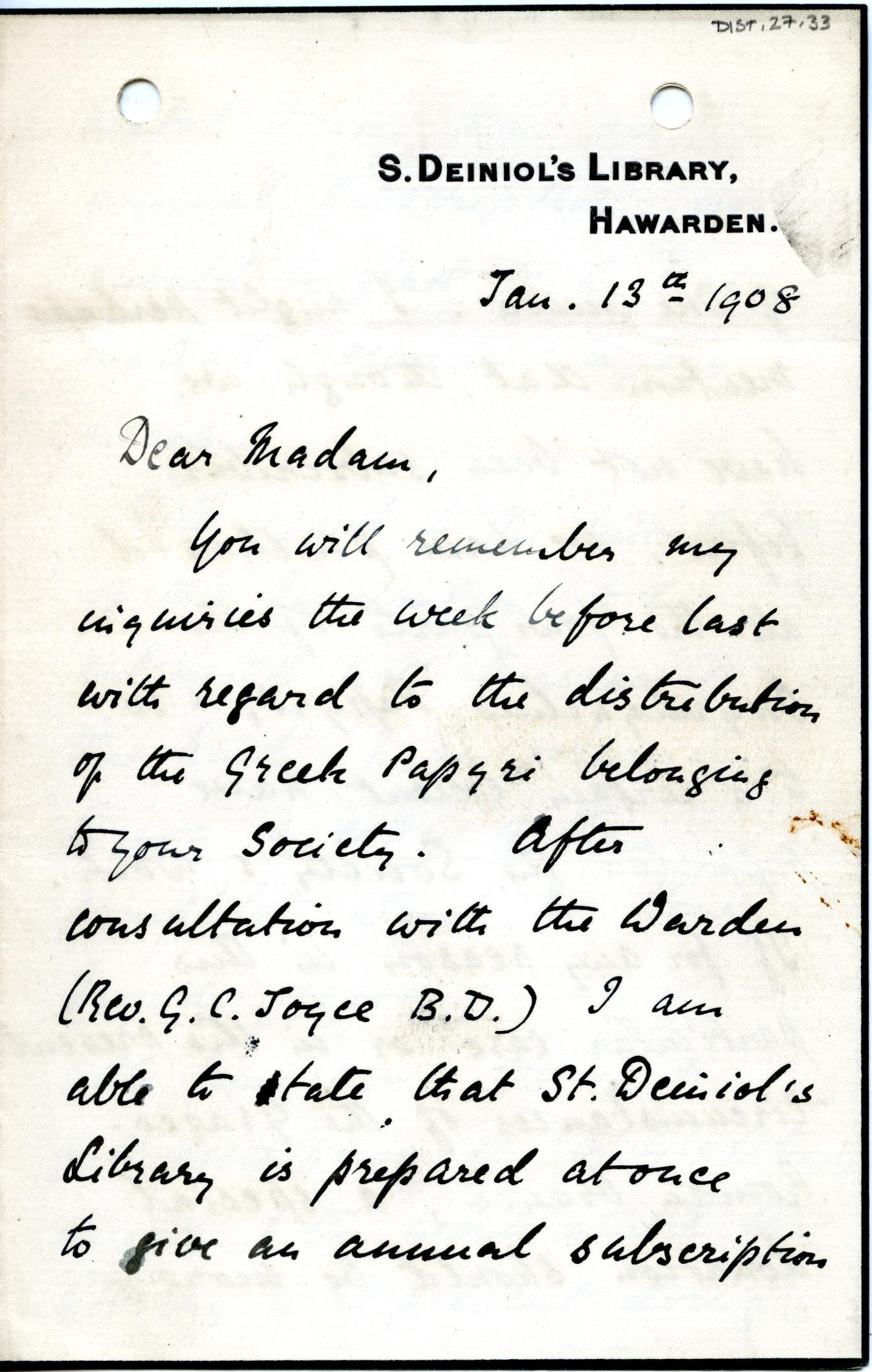 1905-06 Oxyrhynchus, el-Hibeh, Faiyum DIST.27.33a