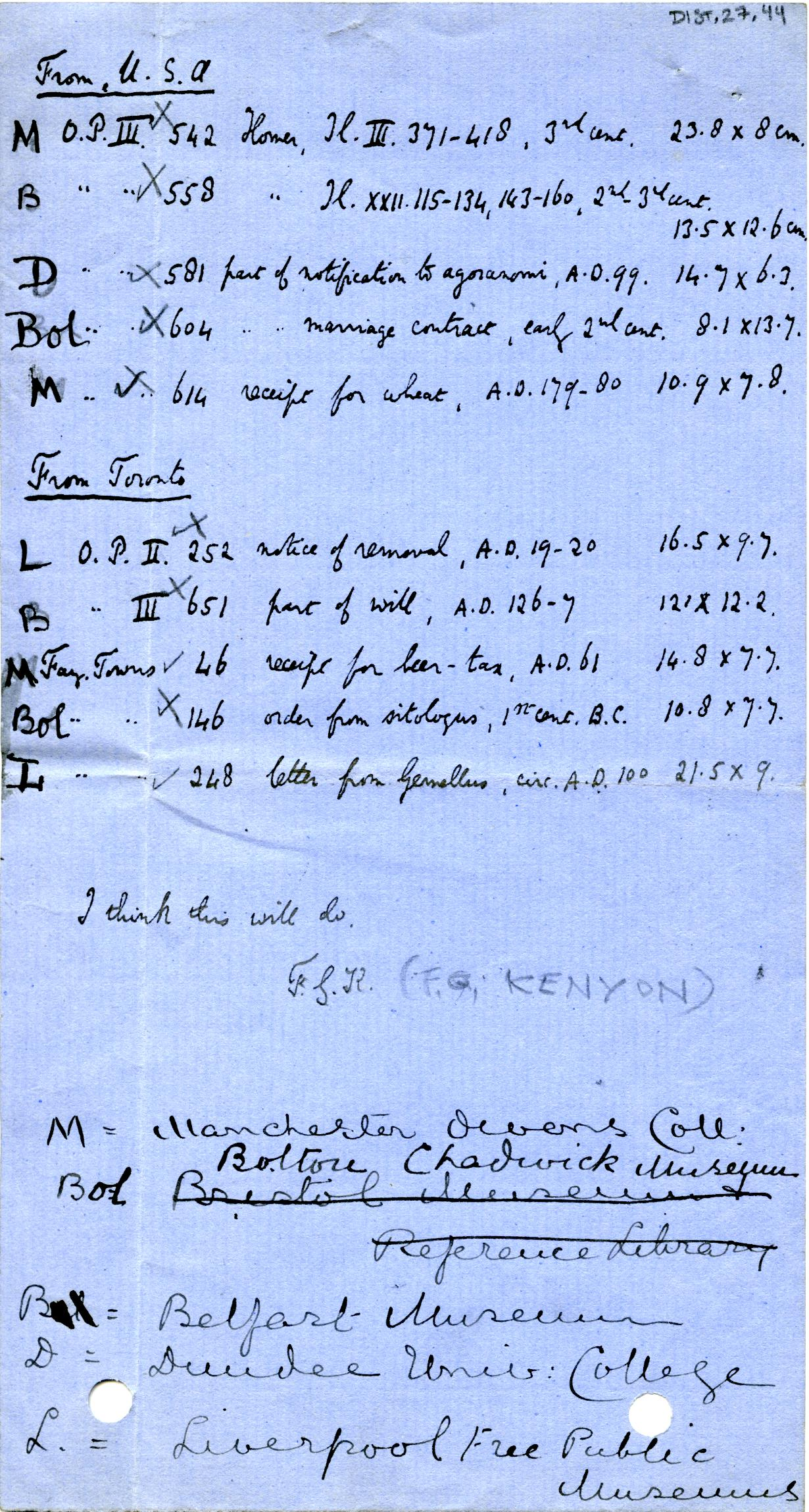1905-06 Oxyrhynchus, el-Hibeh, Faiyum DIST.27.44
