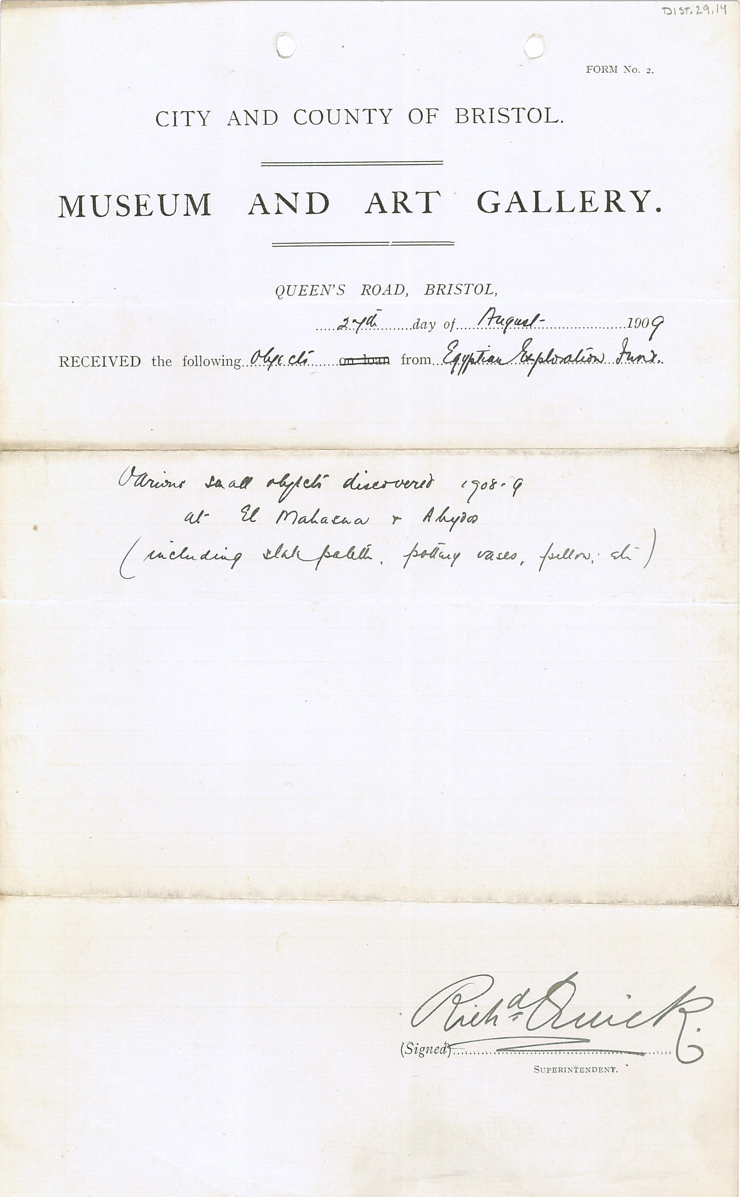 1908-09 el-Mahasna, Abydos DIST.29.14