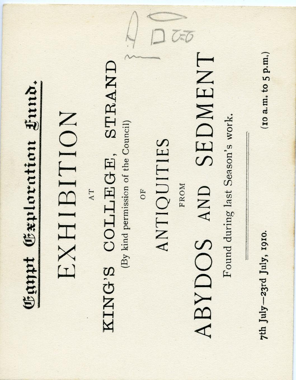 1909-10 Abydos, Sedment, Gahmut, Ihnasya DIST.31.08h