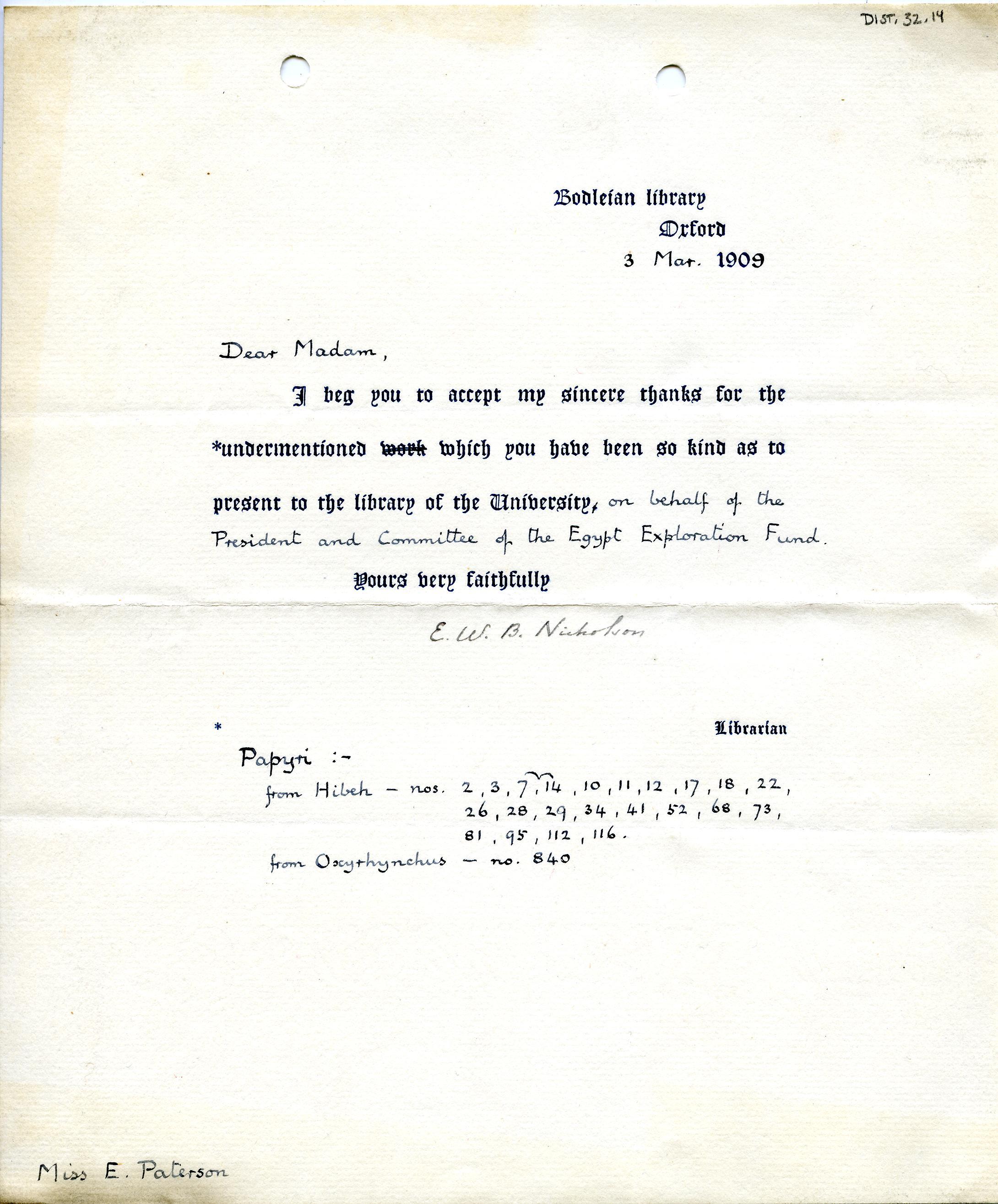 1908-13 Papyri DIST.32.14a