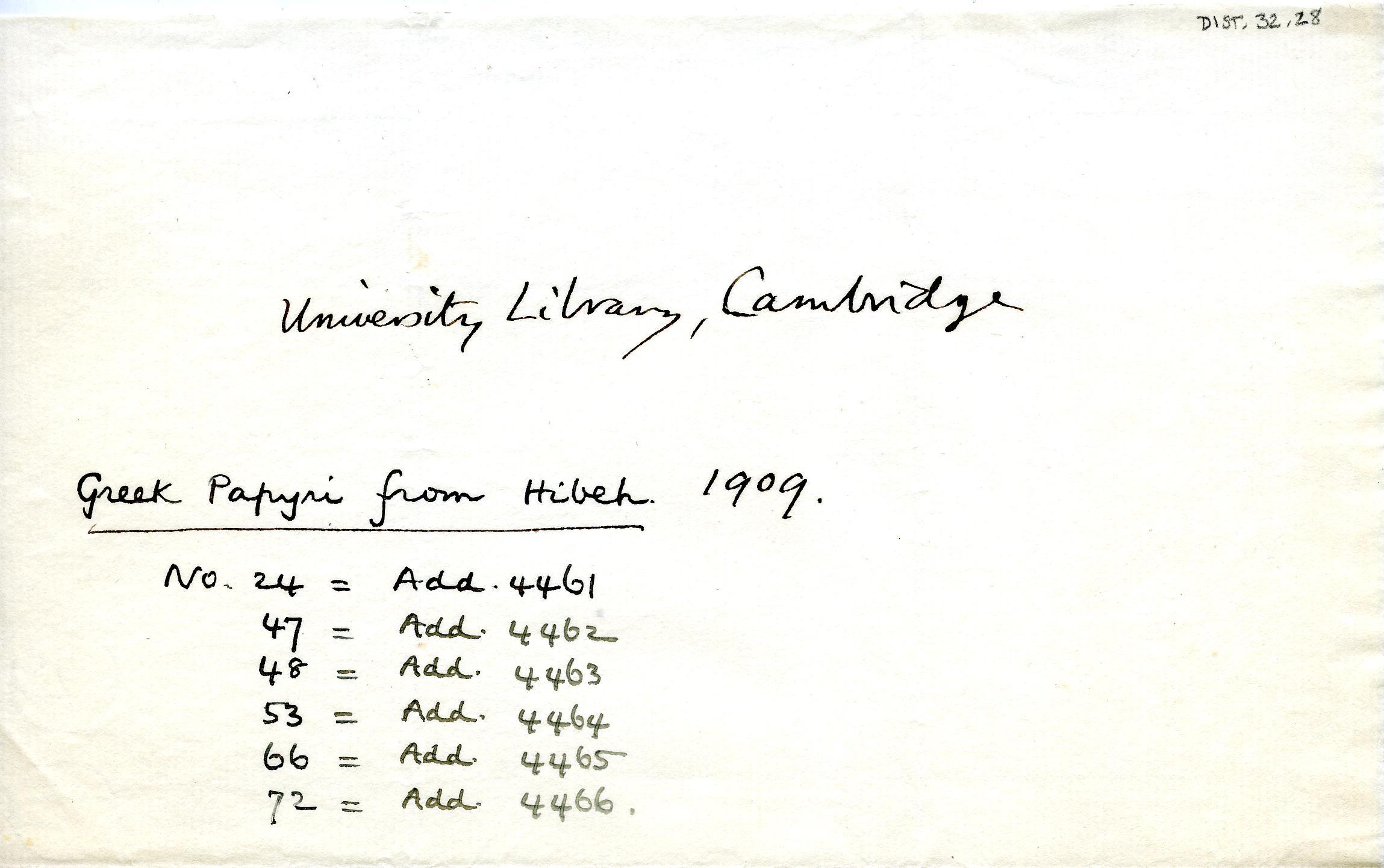 1908-13 Papyri DIST.32.28
