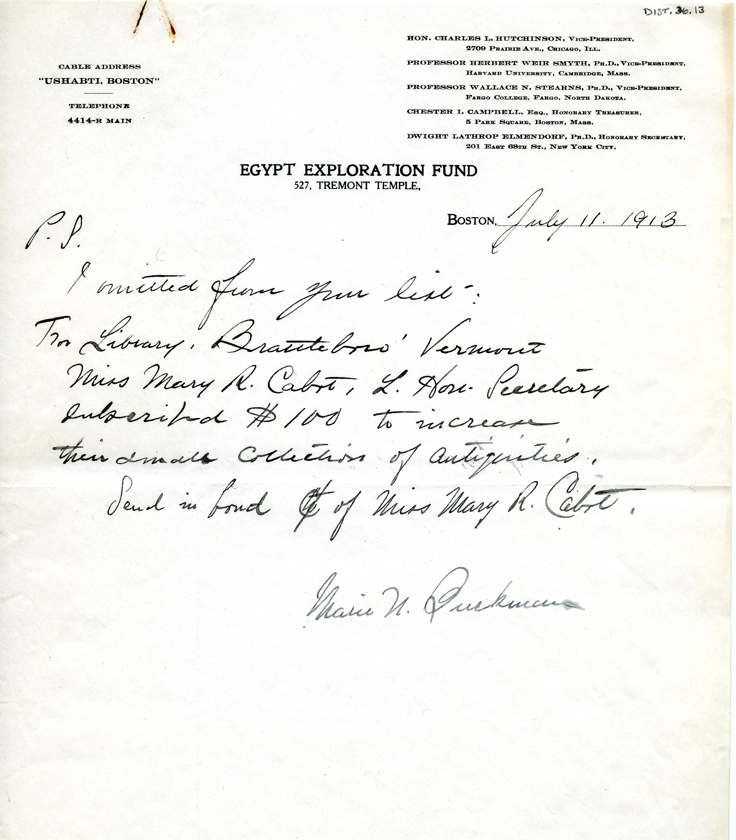 1913 Correspondence American museums DIST.36.13a