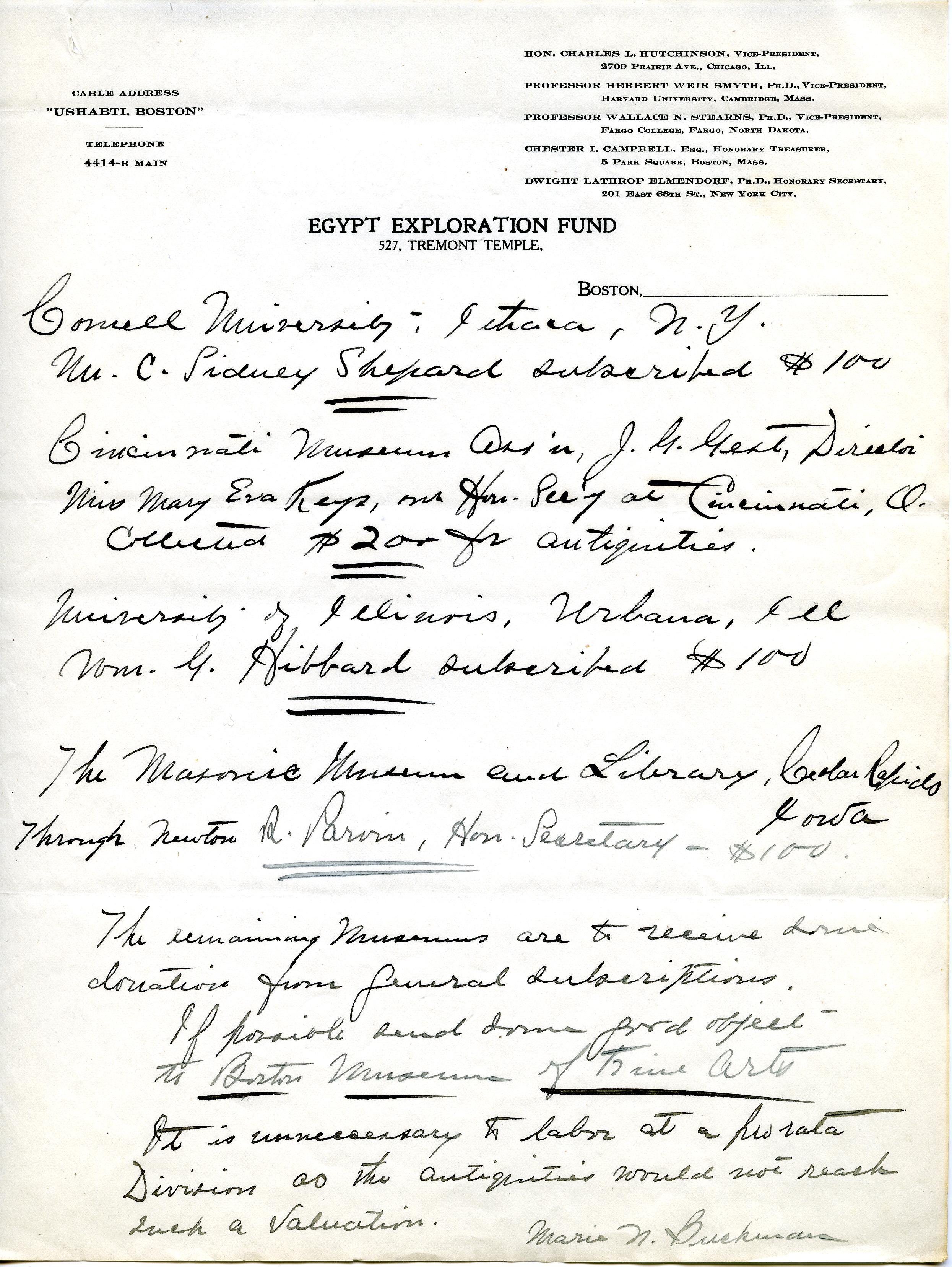 1913 Correspondence American museums DIST.36.13c