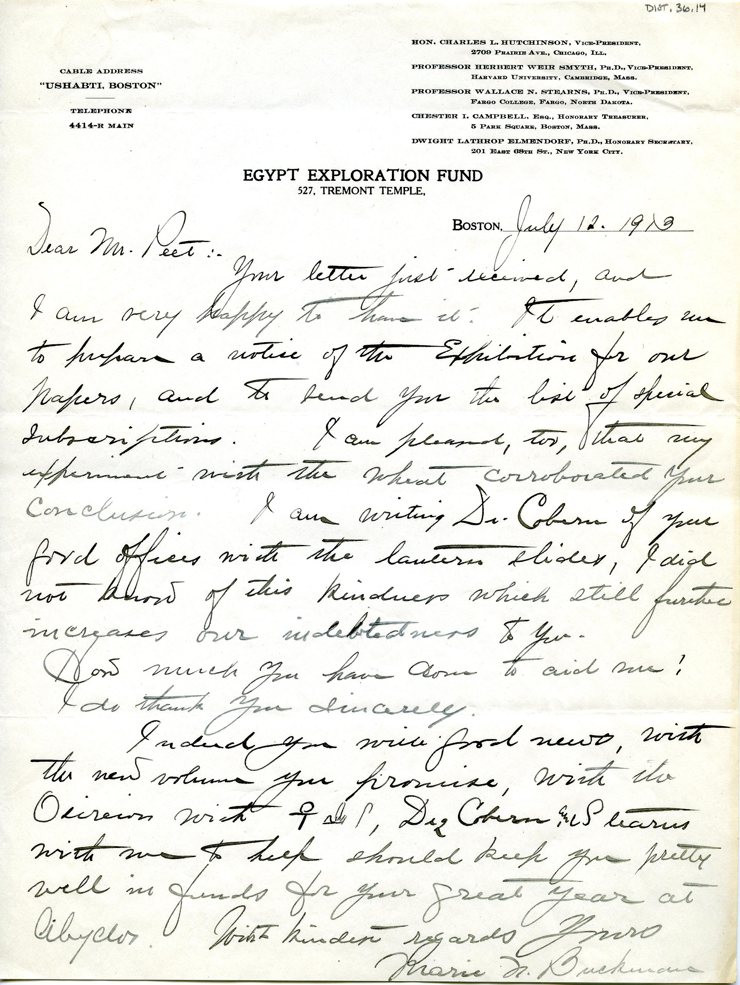 1913 Correspondence American museums DIST.36.14