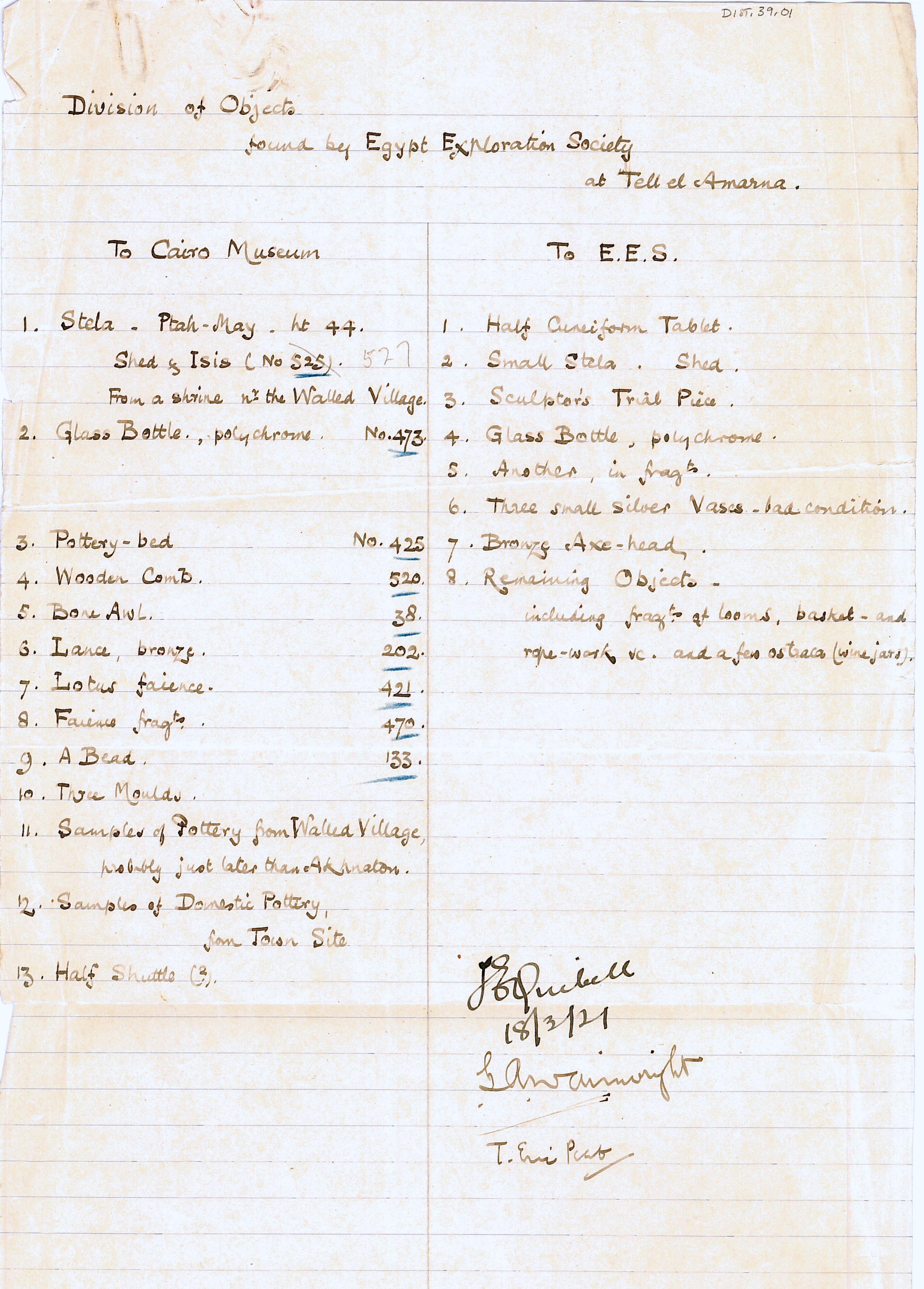1921-22 Tell el-Amarna DIST.39.01