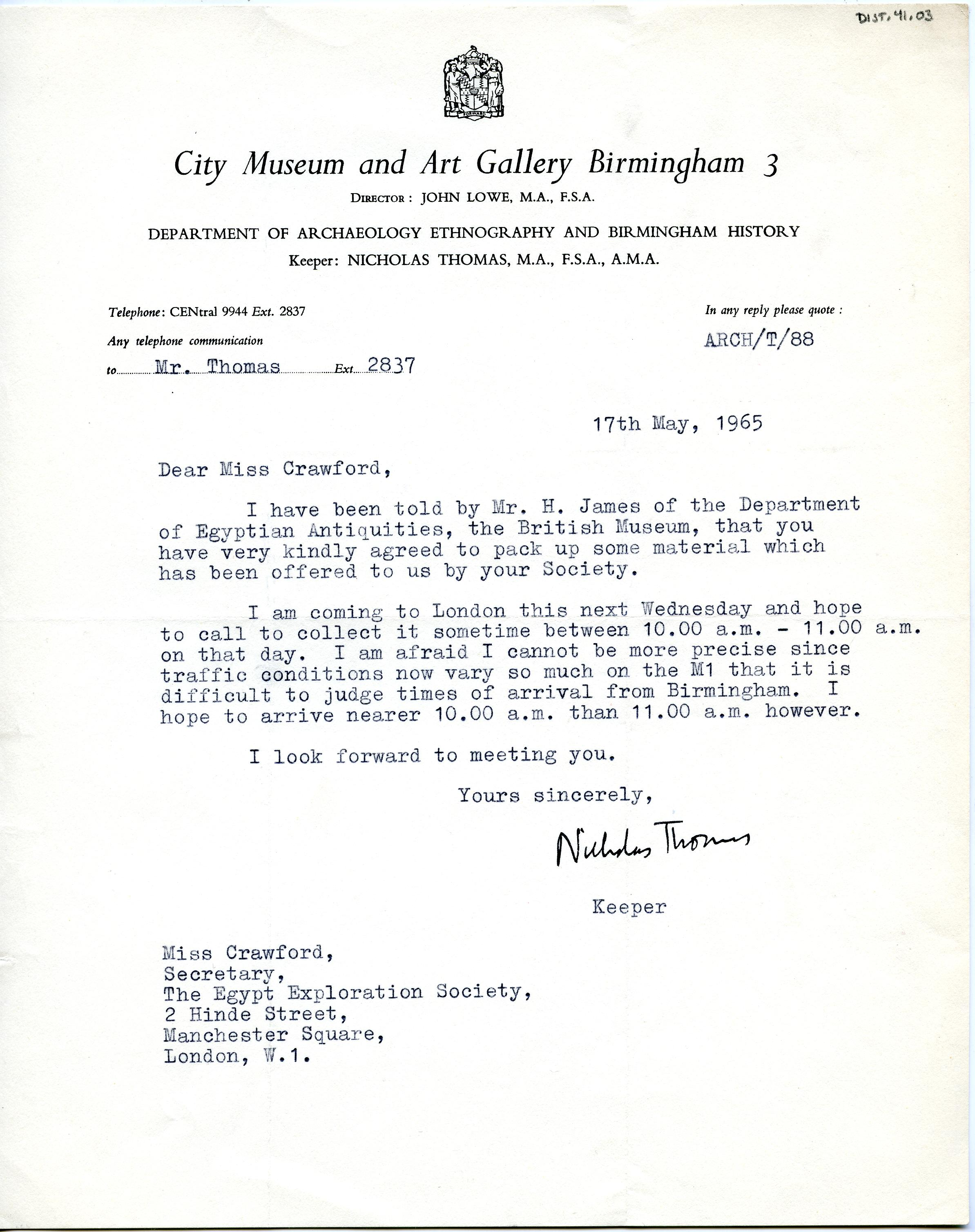 1922-76 Miscellaneous correspondence with museums DIST.41.03