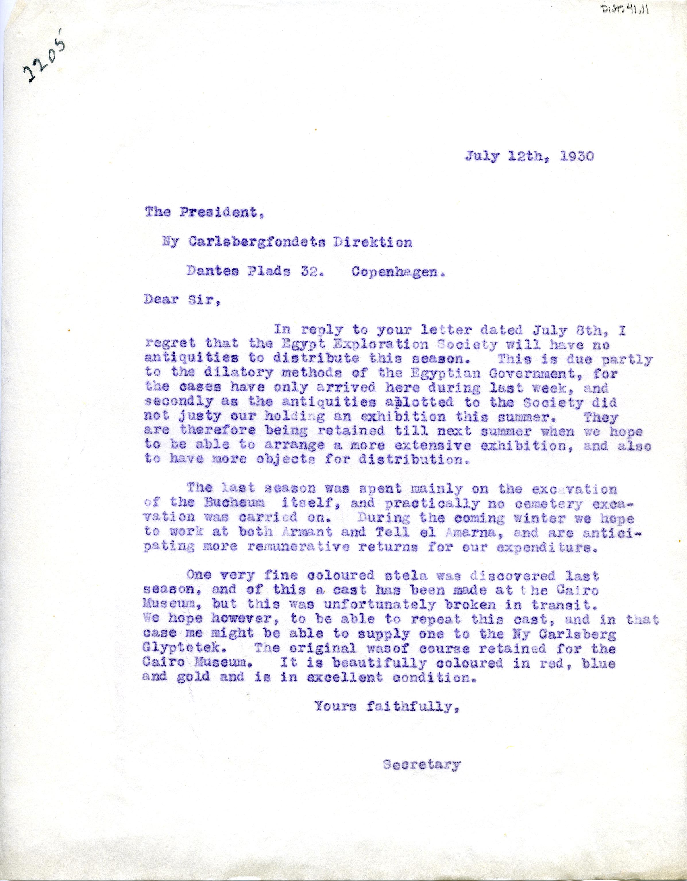 1922-76 Miscellaneous correspondence with museums DIST.41.11
