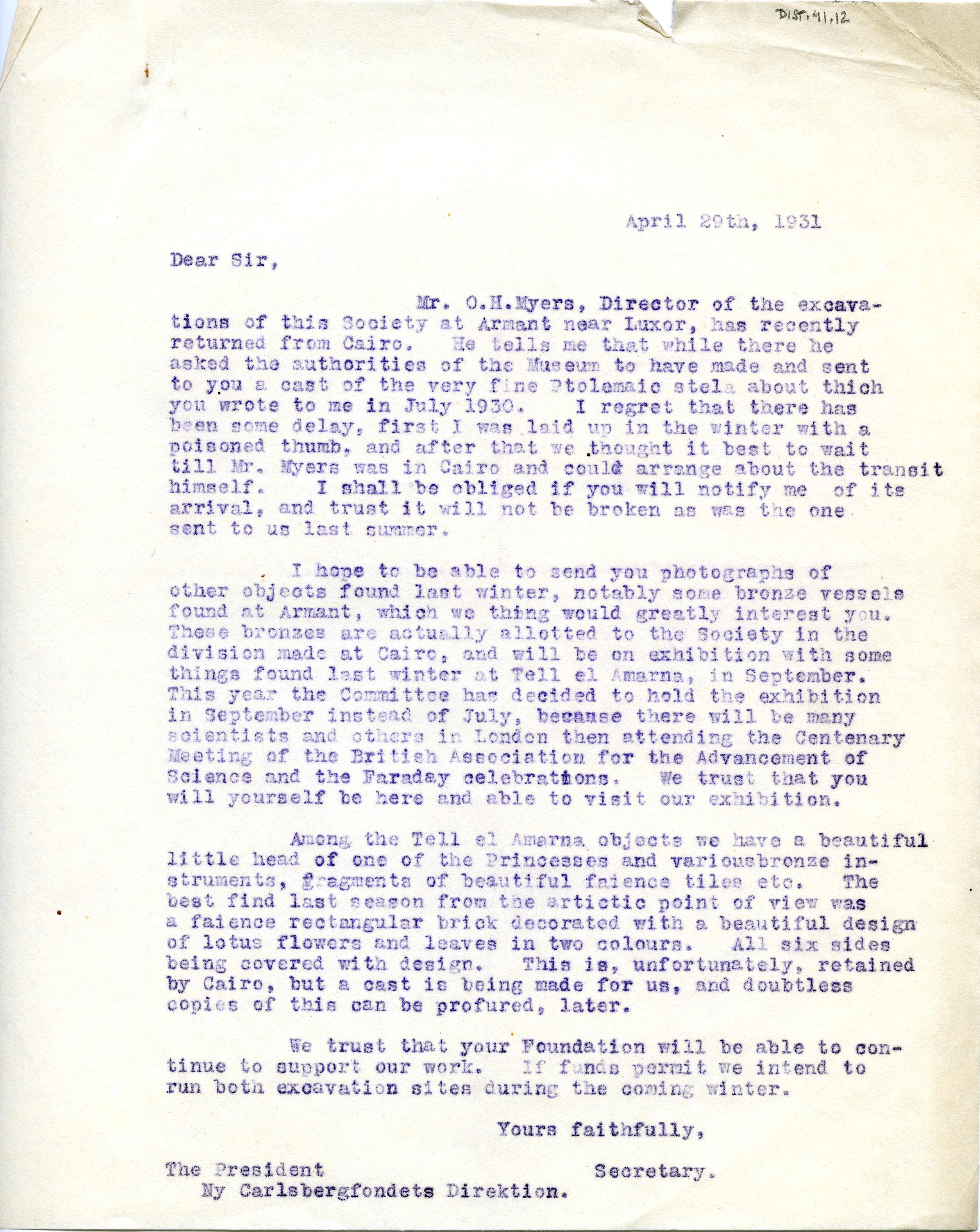 1922-76 Miscellaneous correspondence with museums DIST.41.12