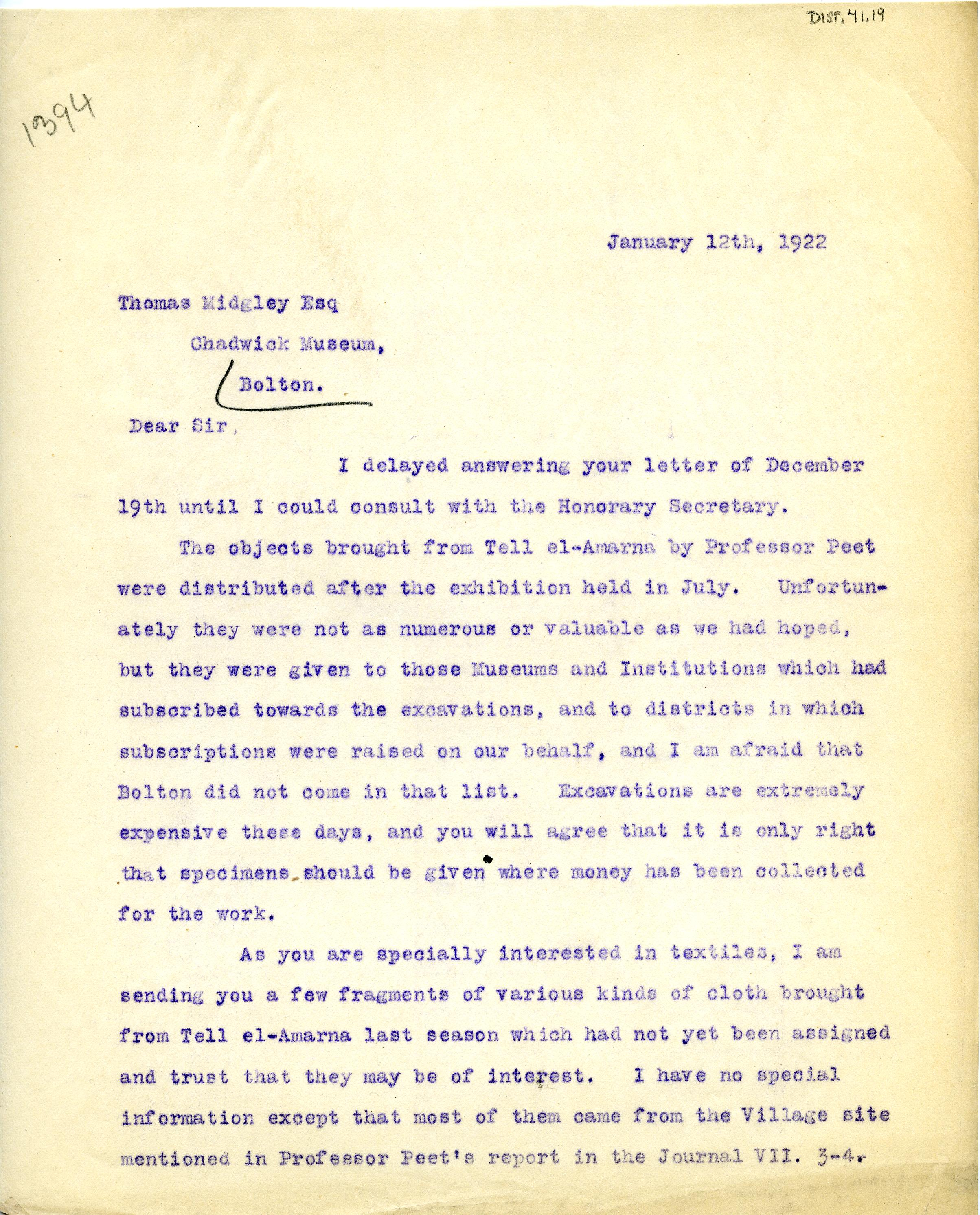 1922-76 Miscellaneous correspondence with museums DIST.41.19a