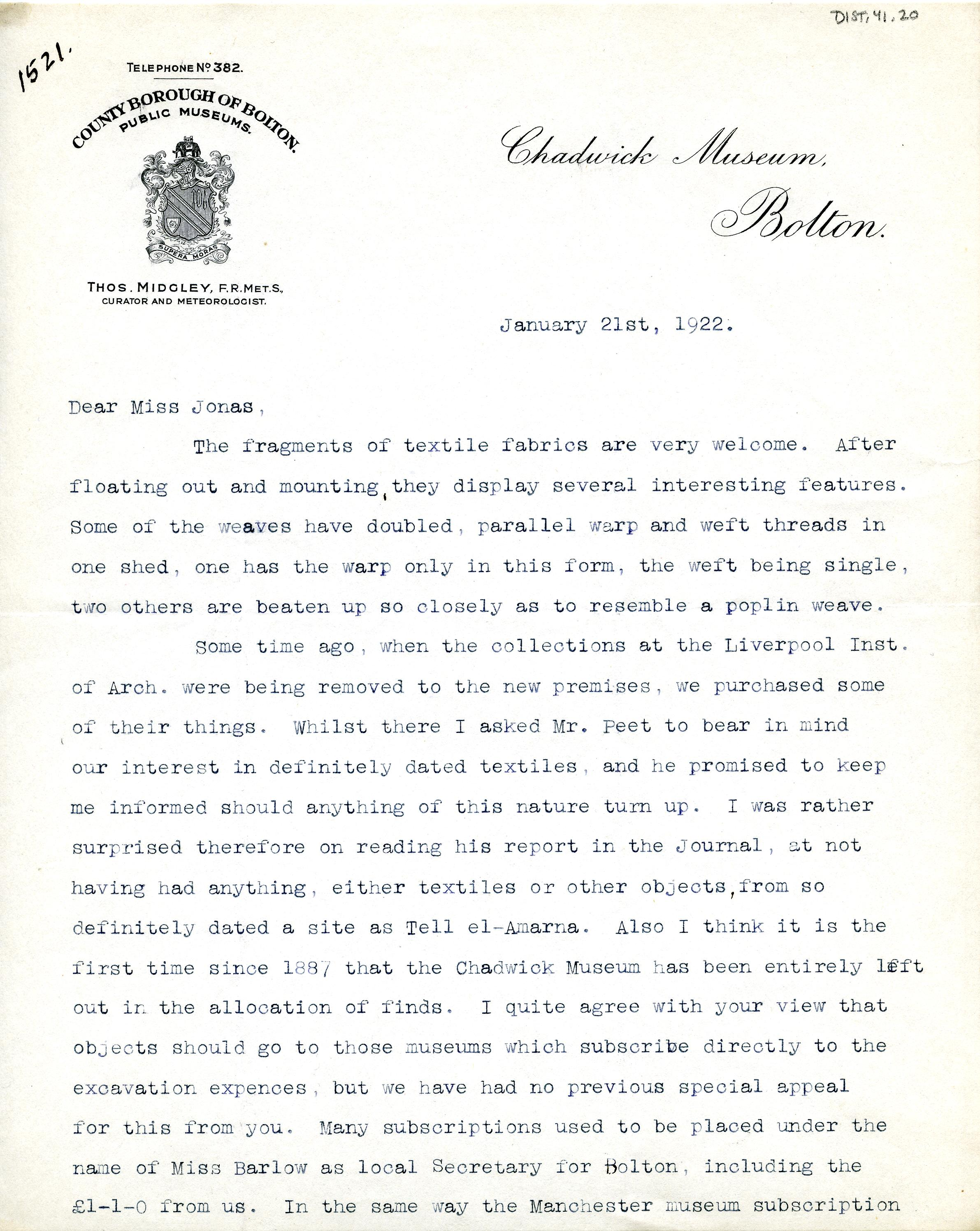 1922-76 Miscellaneous correspondence with museums DIST.41.20a