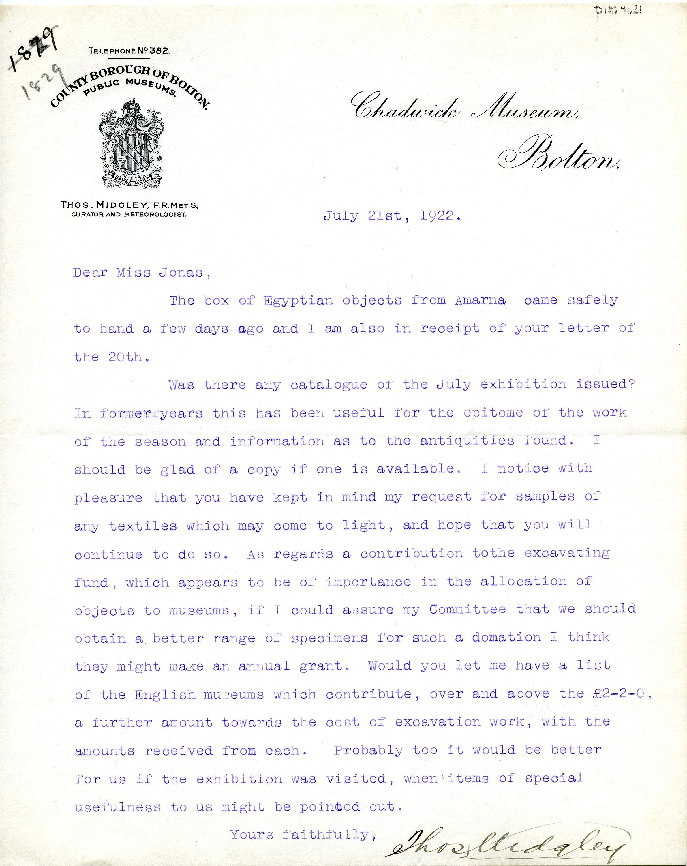 1922-76 Miscellaneous correspondence with museums DIST.41.21