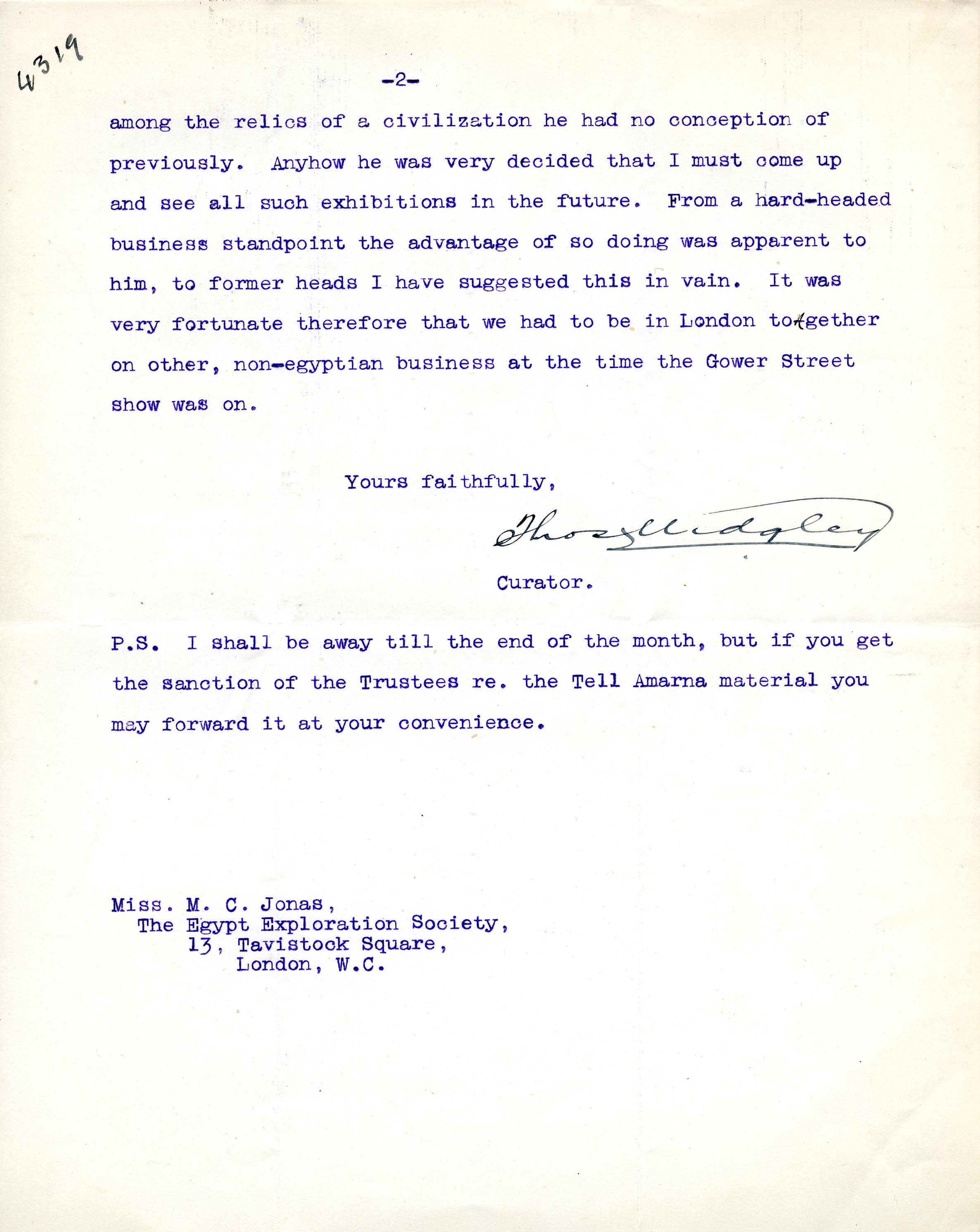 1922-76 Miscellaneous correspondence with museums DIST.41.25b