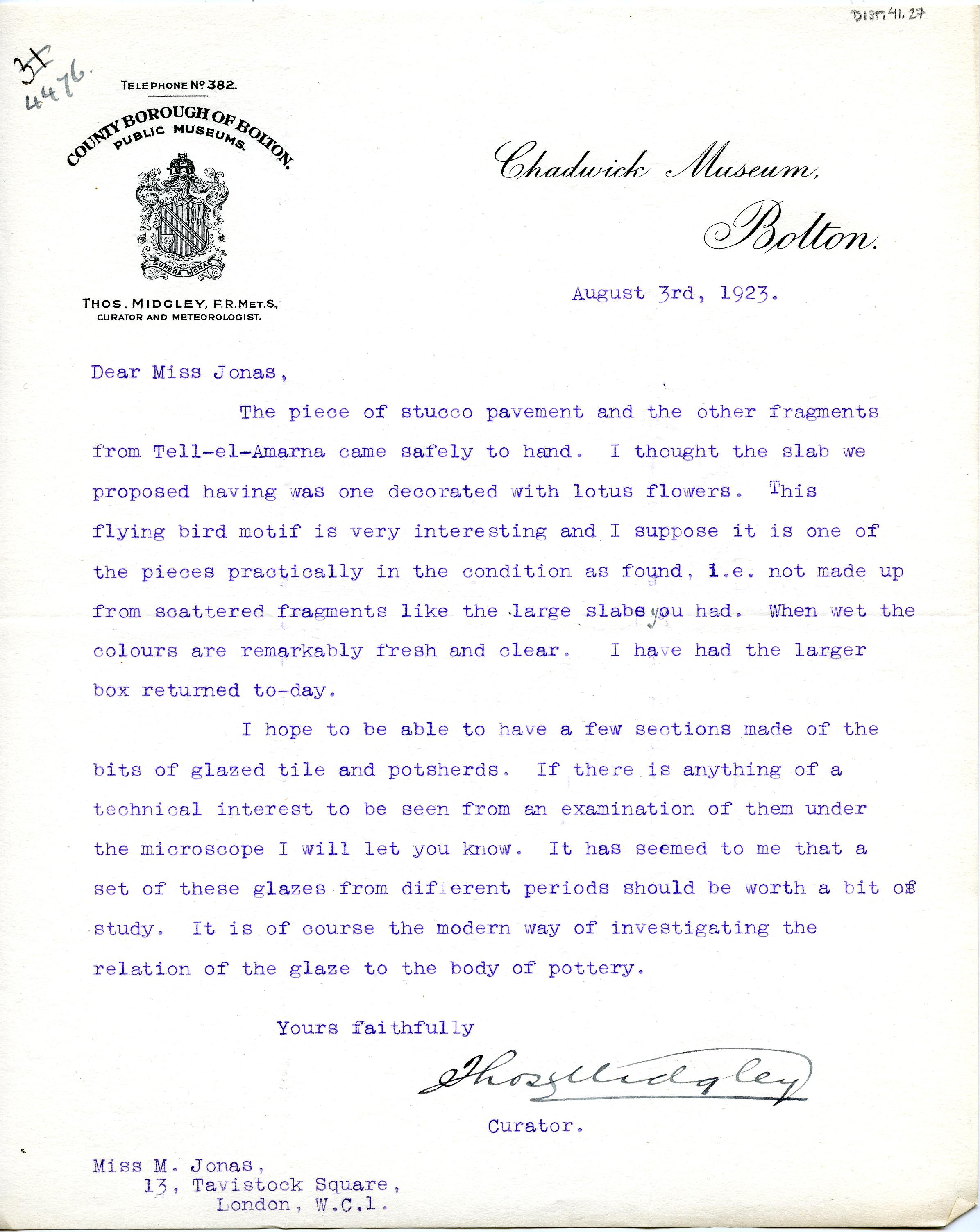 1922-76 Miscellaneous correspondence with museums DIST.41.27