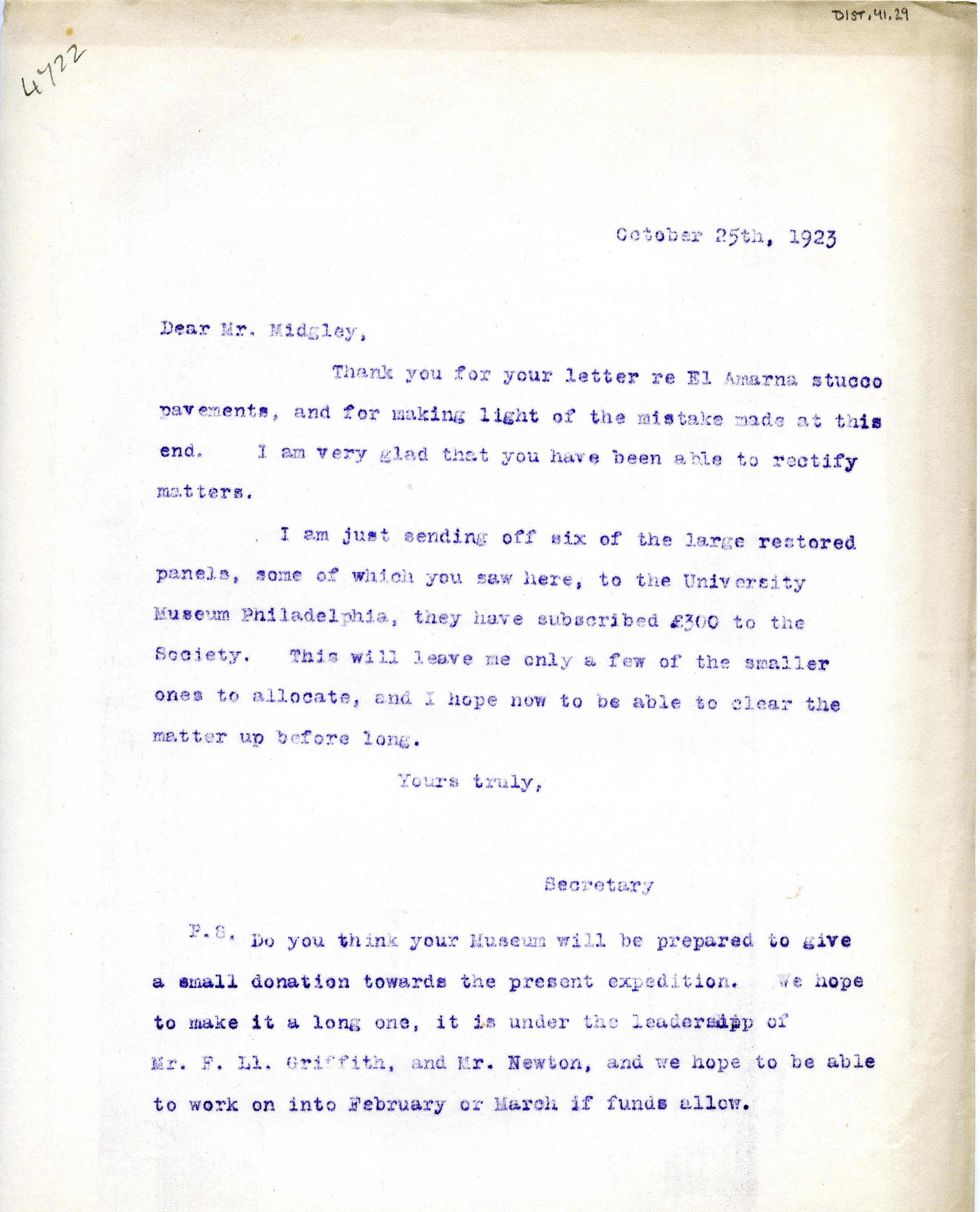 1922-76 Miscellaneous correspondence with museums DIST.41.29