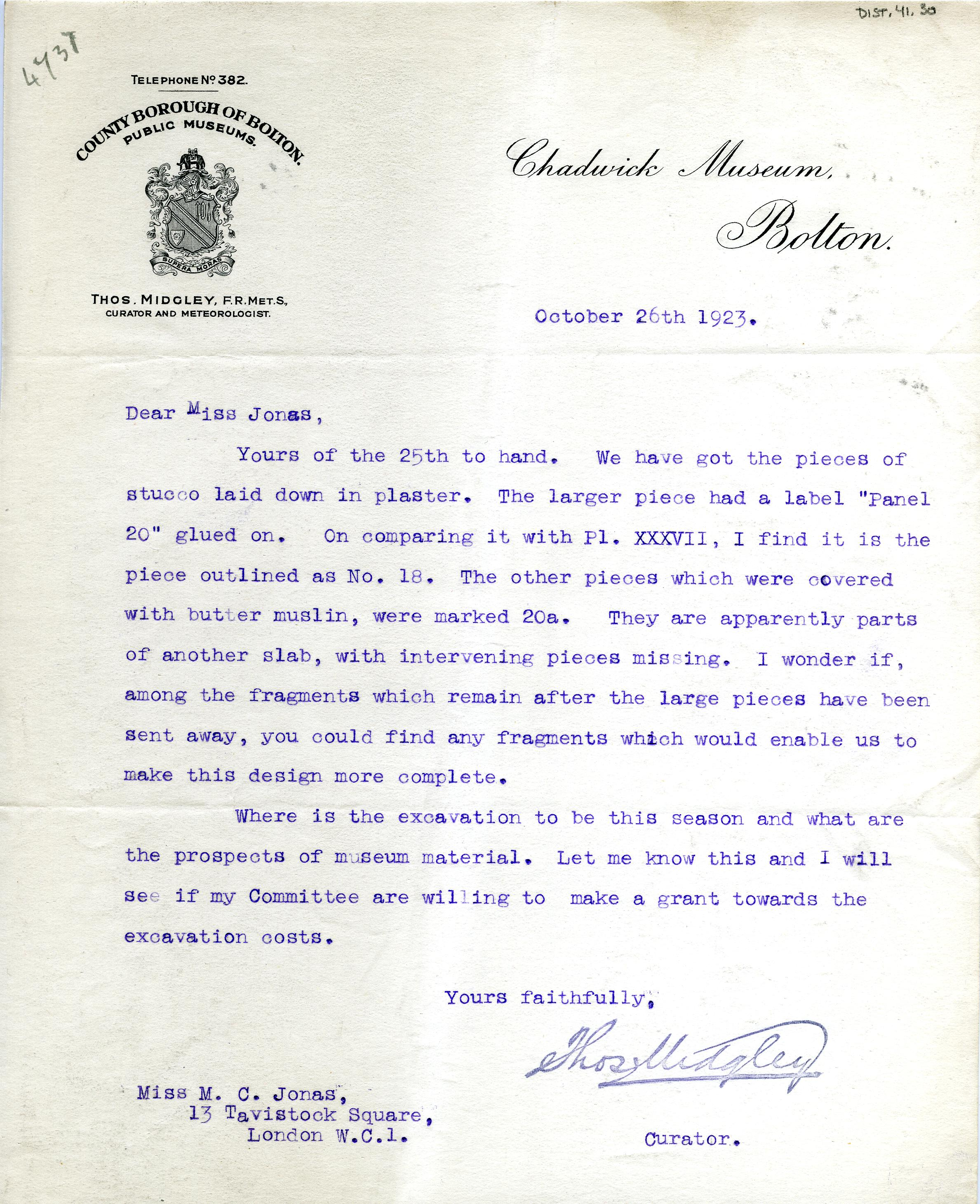 1922-76 Miscellaneous correspondence with museums DIST.41.30