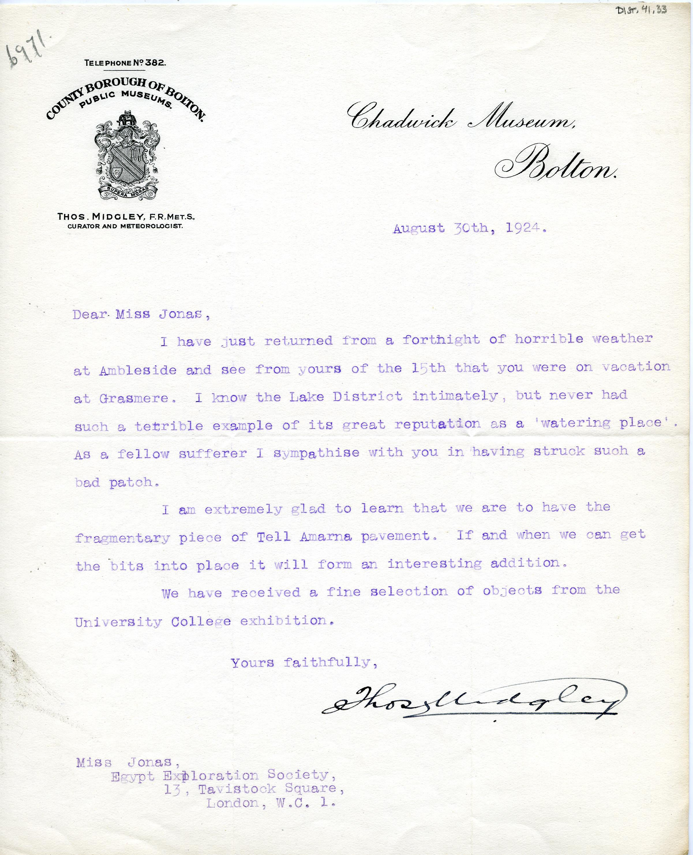1922-76 Miscellaneous correspondence with museums DIST.41.33