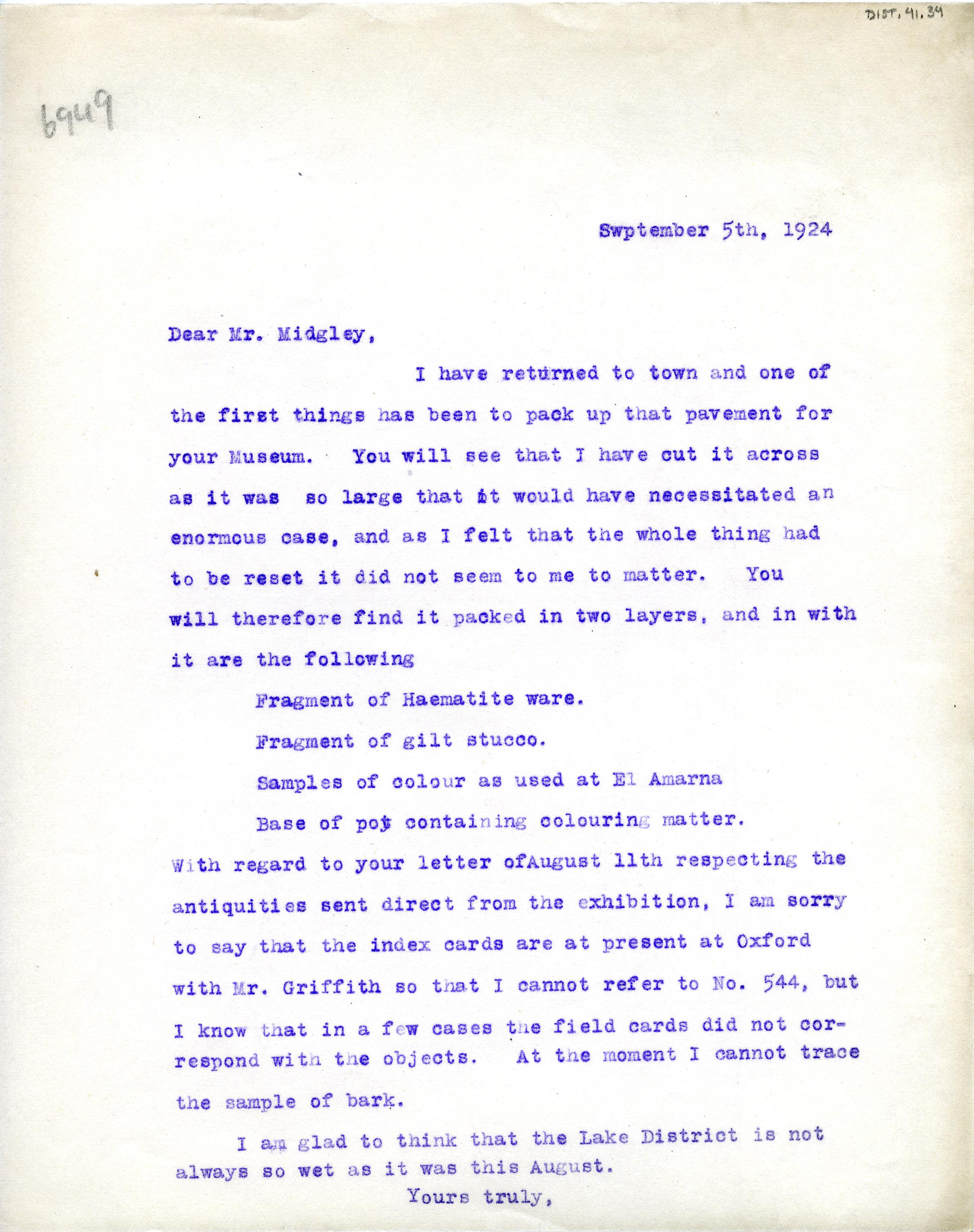 1922-76 Miscellaneous correspondence with museums DIST.41.34