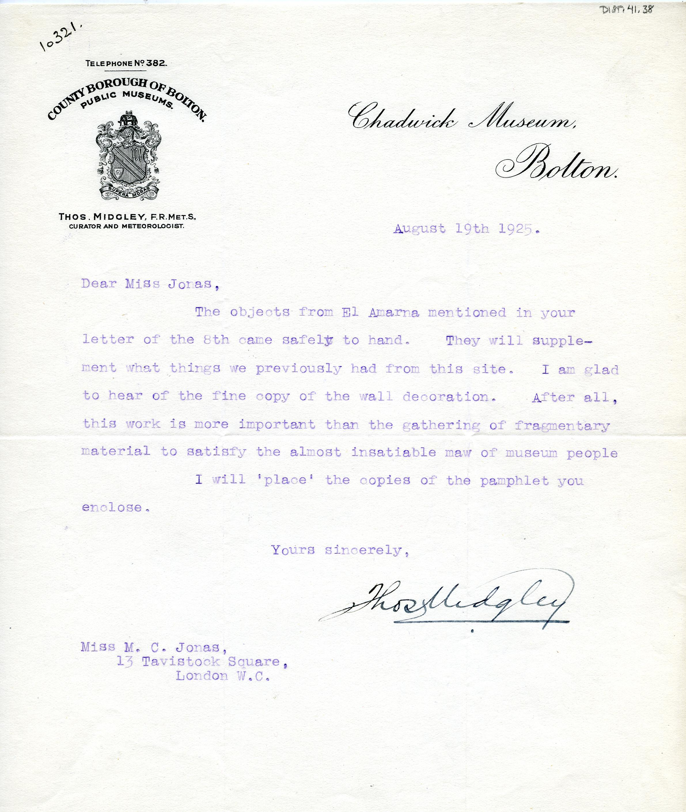 1922-76 Miscellaneous correspondence with museums DIST.41.38