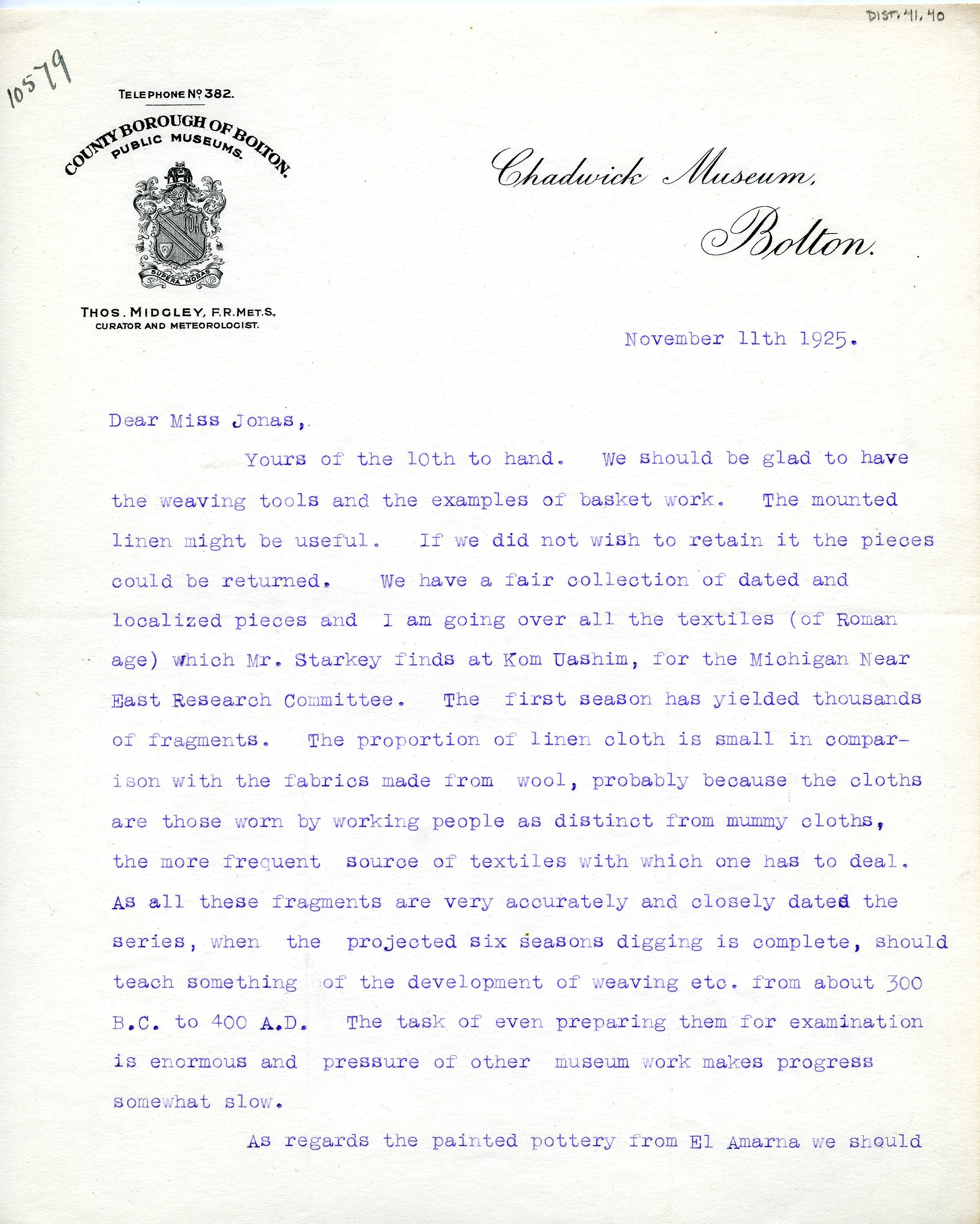 1922-76 Miscellaneous correspondence with museums DIST.41.40a