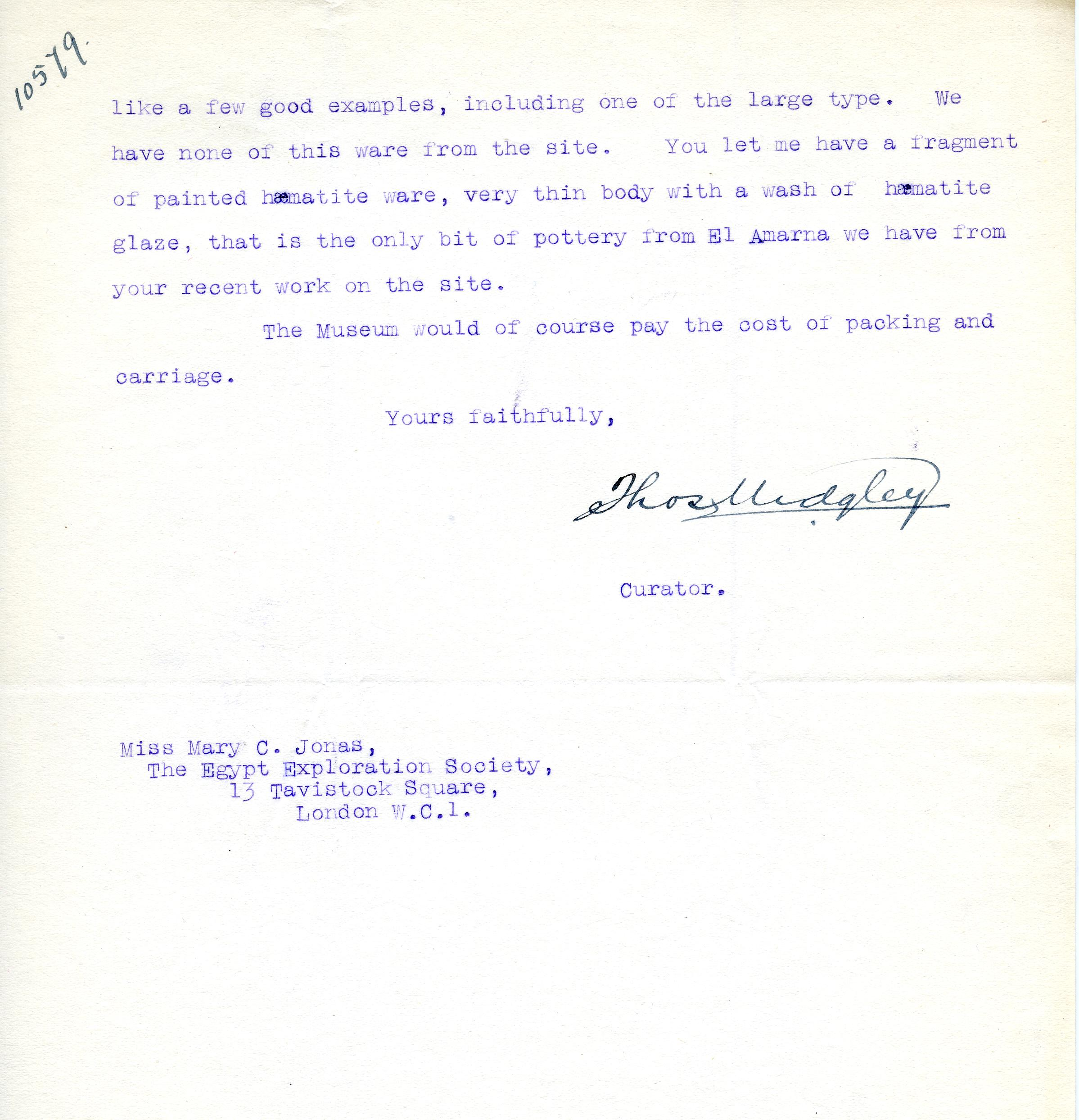 1922-76 Miscellaneous correspondence with museums DIST.41.40b