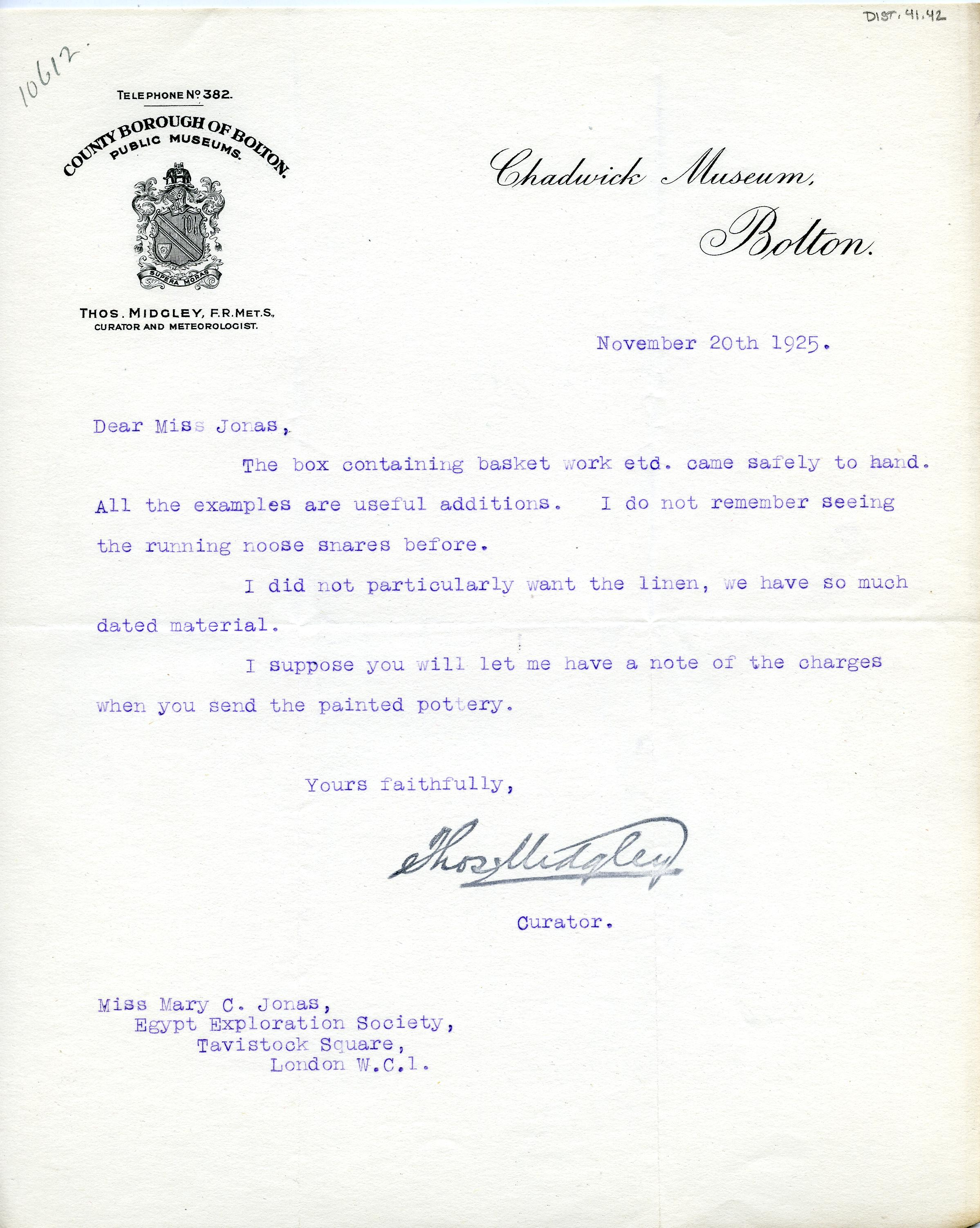 1922-76 Miscellaneous correspondence with museums DIST.41.42