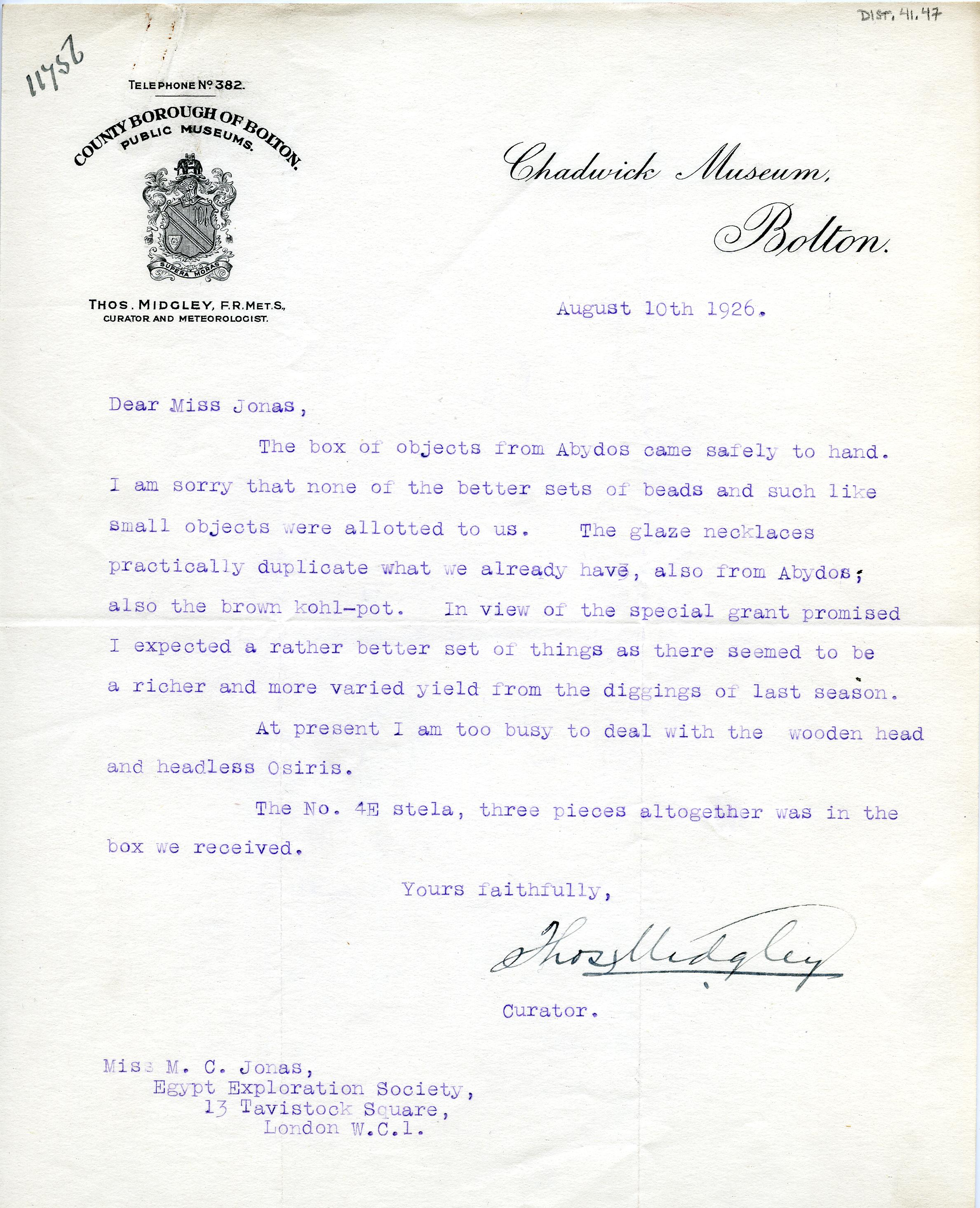 1922-76 Miscellaneous correspondence with museums DIST.41.47
